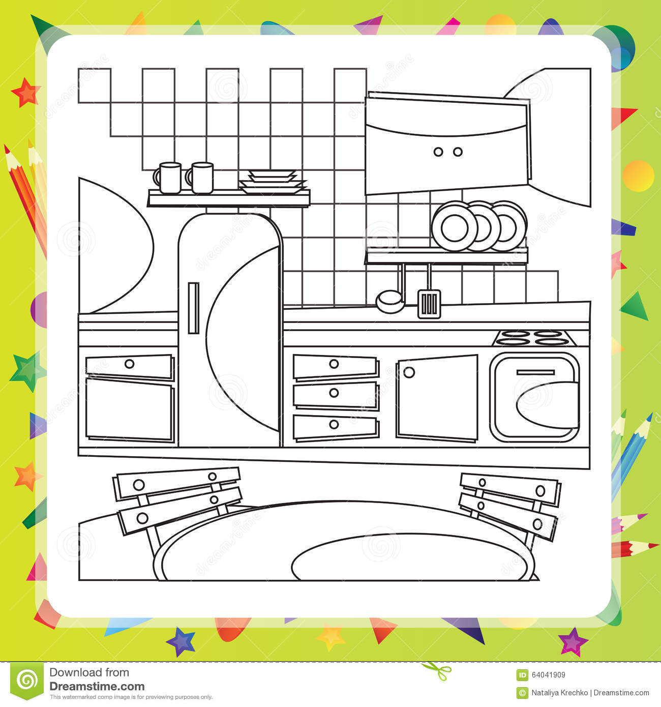Coloring book kitchen - Royalty Free Vector Download Coloring Book With Kitchen