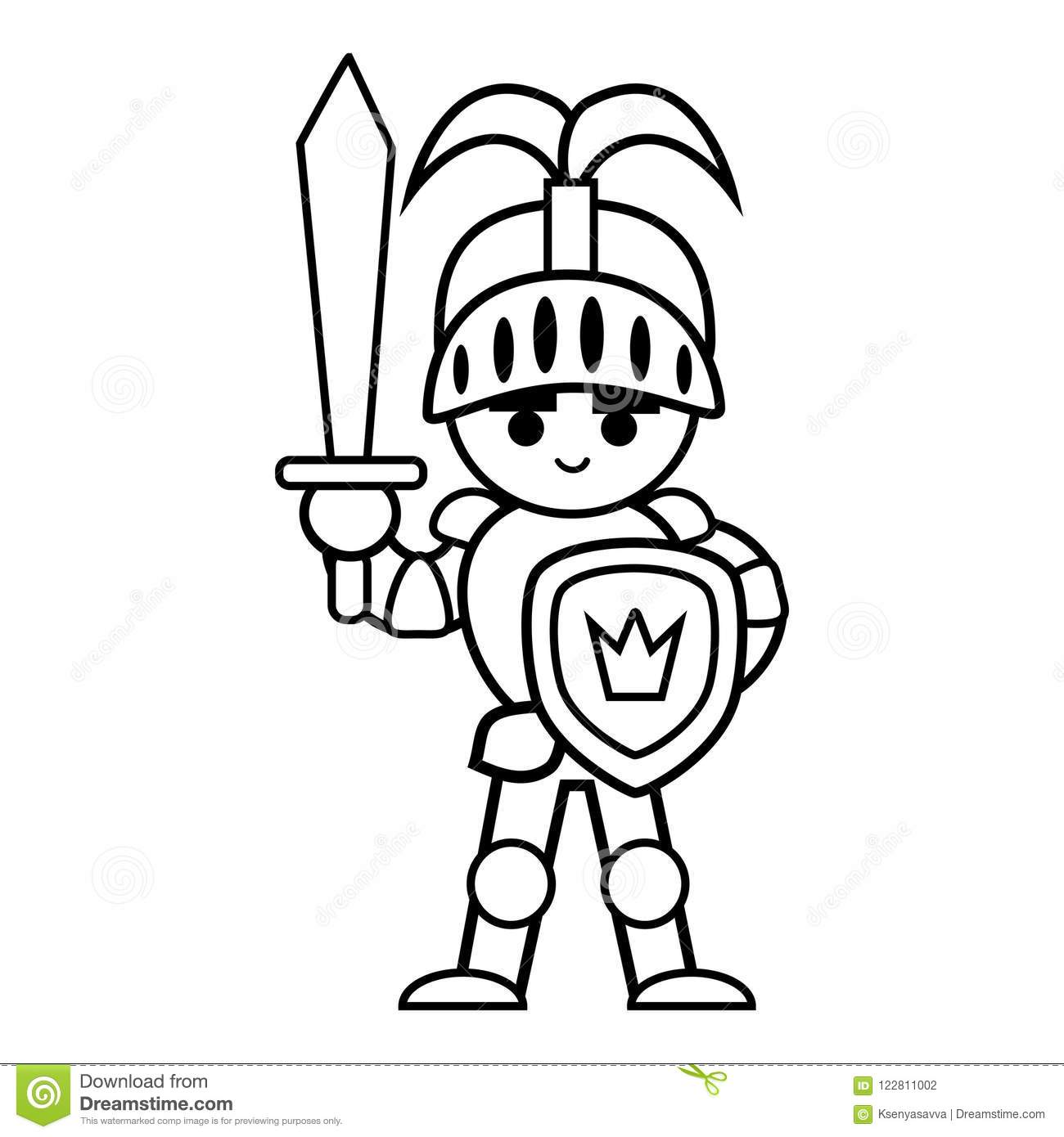 Coloring book, Knight stock vector. Illustration of black - 122811002