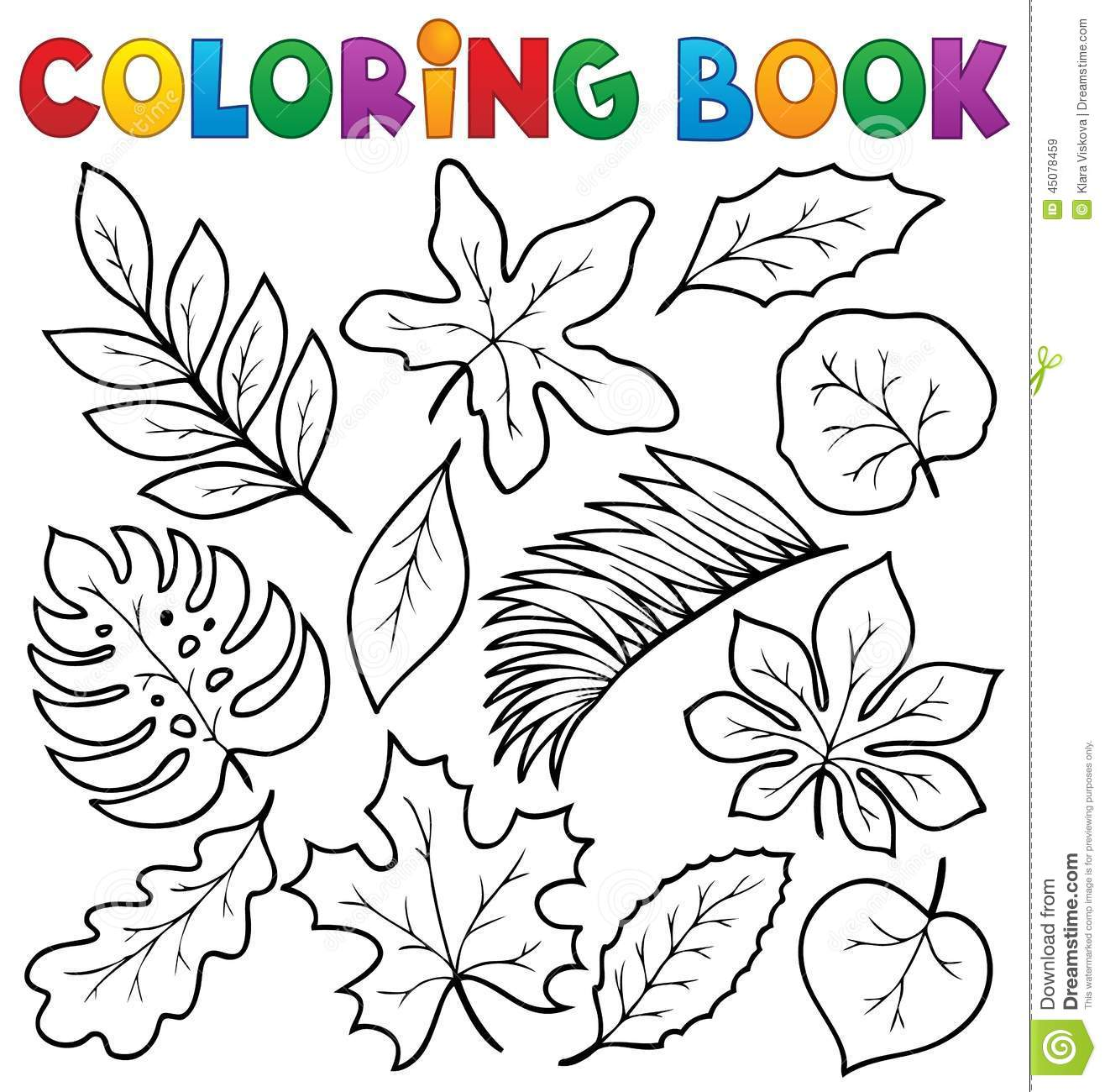 Coloring Book Leaves Theme 1 Stock Vector - Illustration of graphic ...
