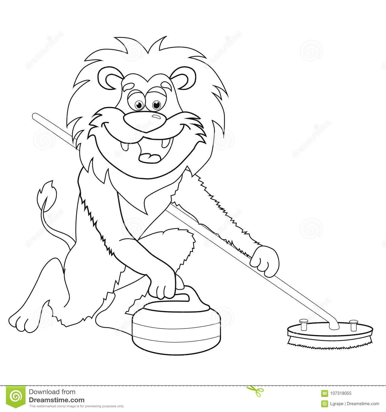 Coloring Book Lion Curling. Cartoon Style. Isolated Image On White ...