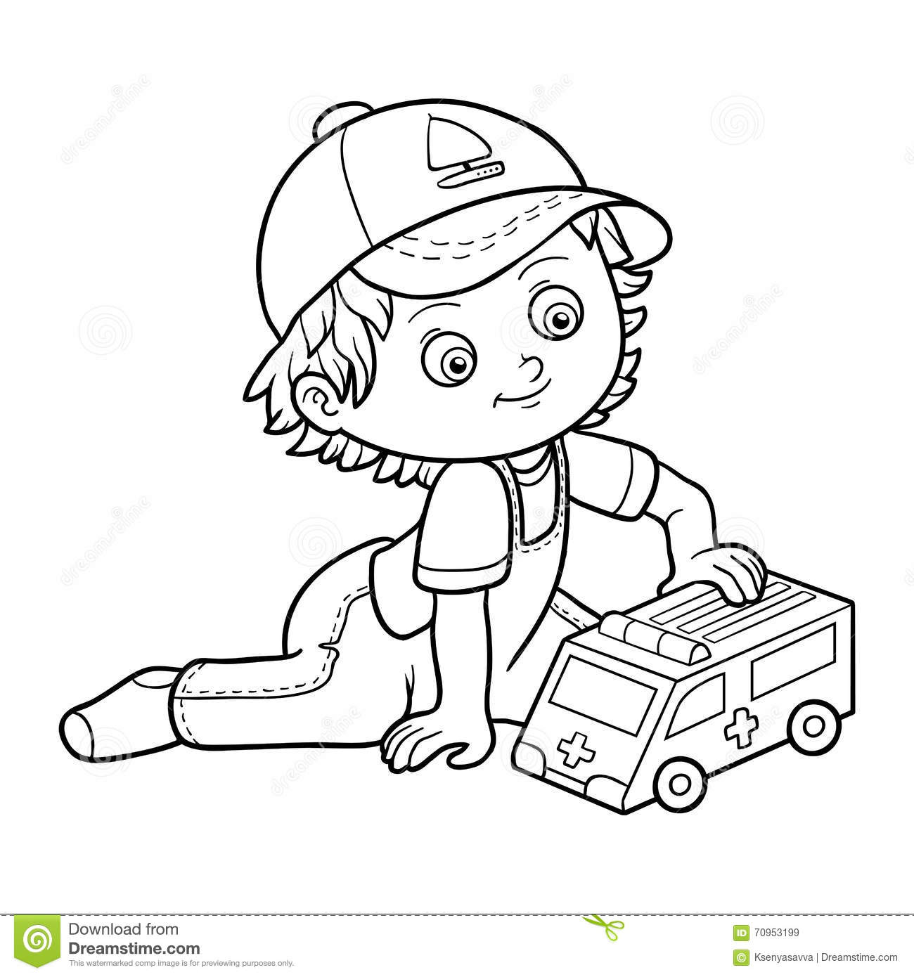 Coloring Book. Little Boy Plays With Ambulance Car Stock Vector ...