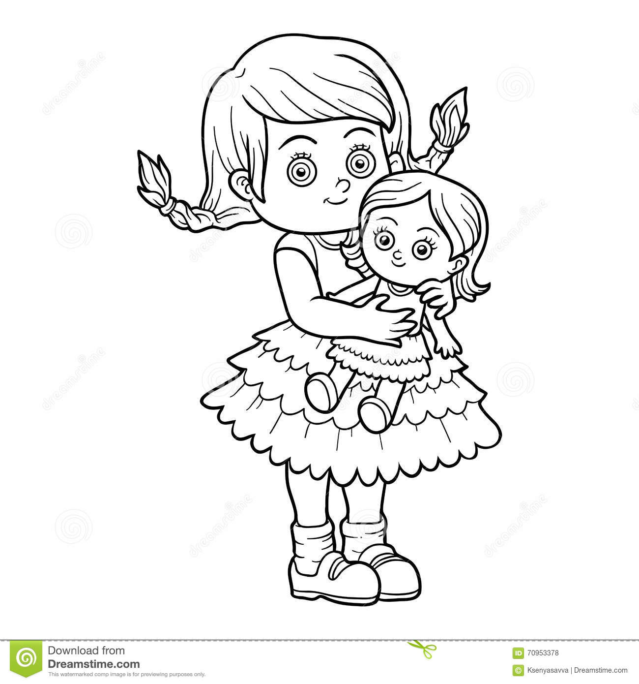 Coloring book for girl - Coloring Book Little Girl With A Doll