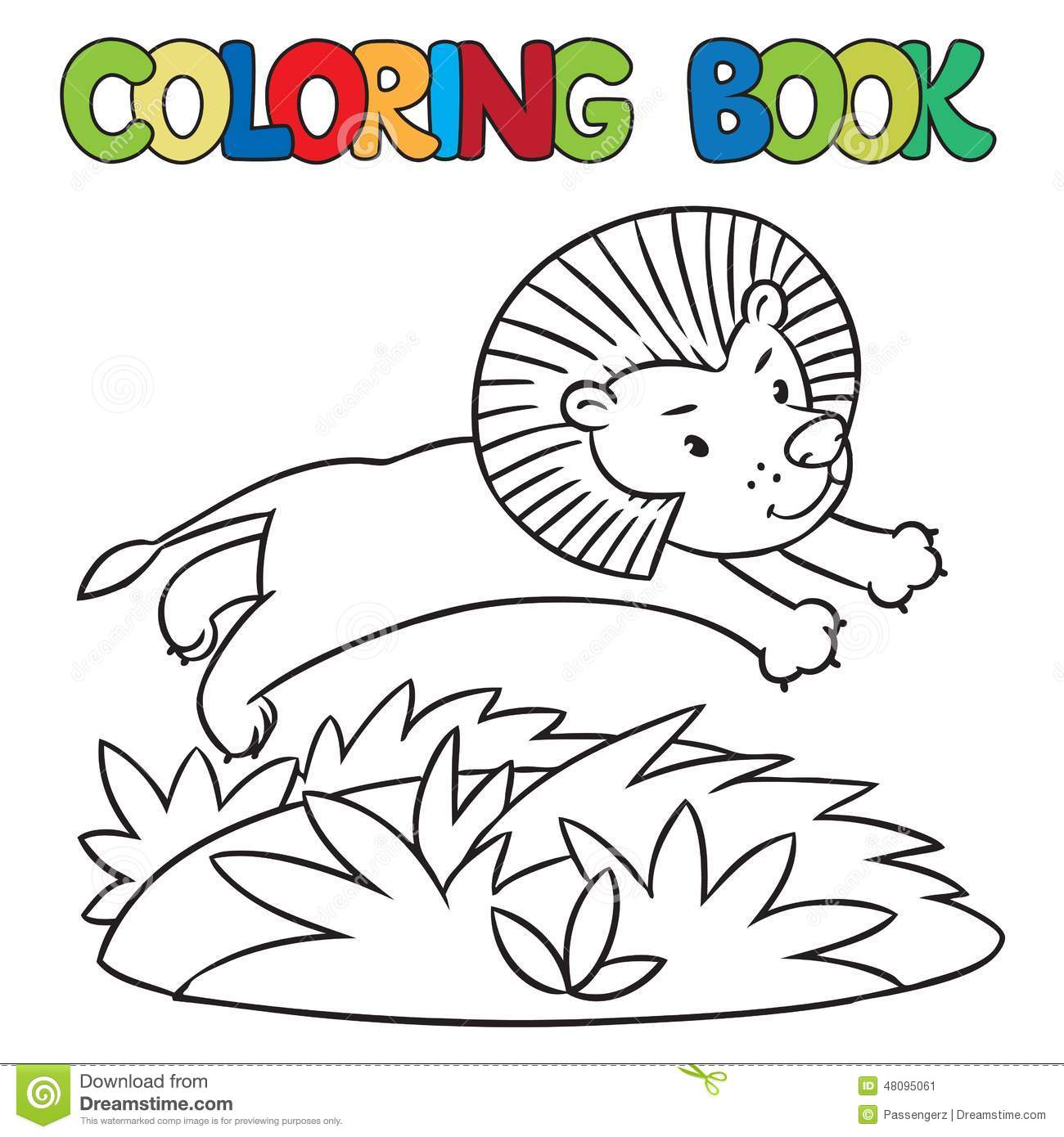 coloring book of little lion stock illustration image 48095061