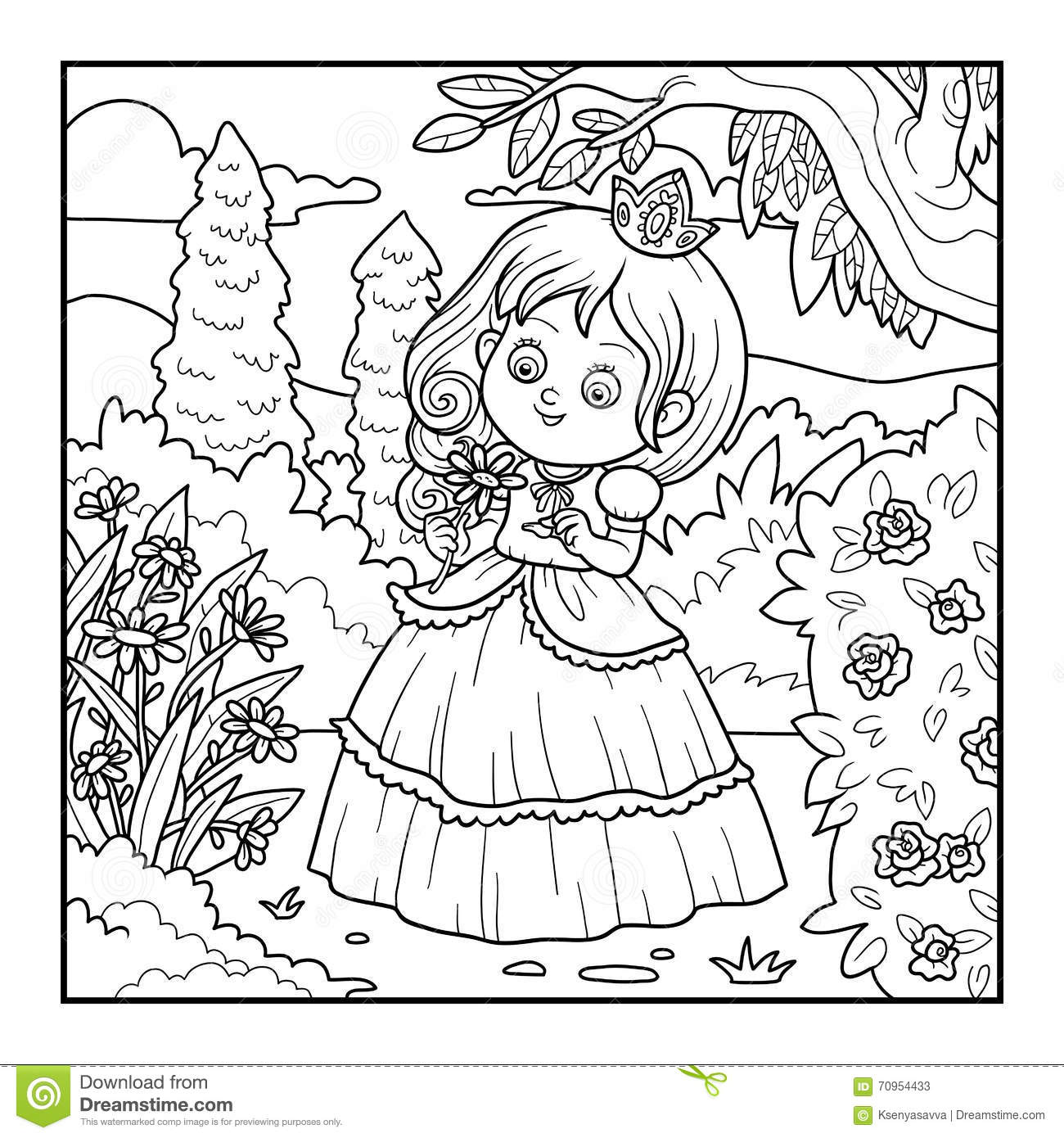 Coloring Book Little Princess With A Flower In The Garden