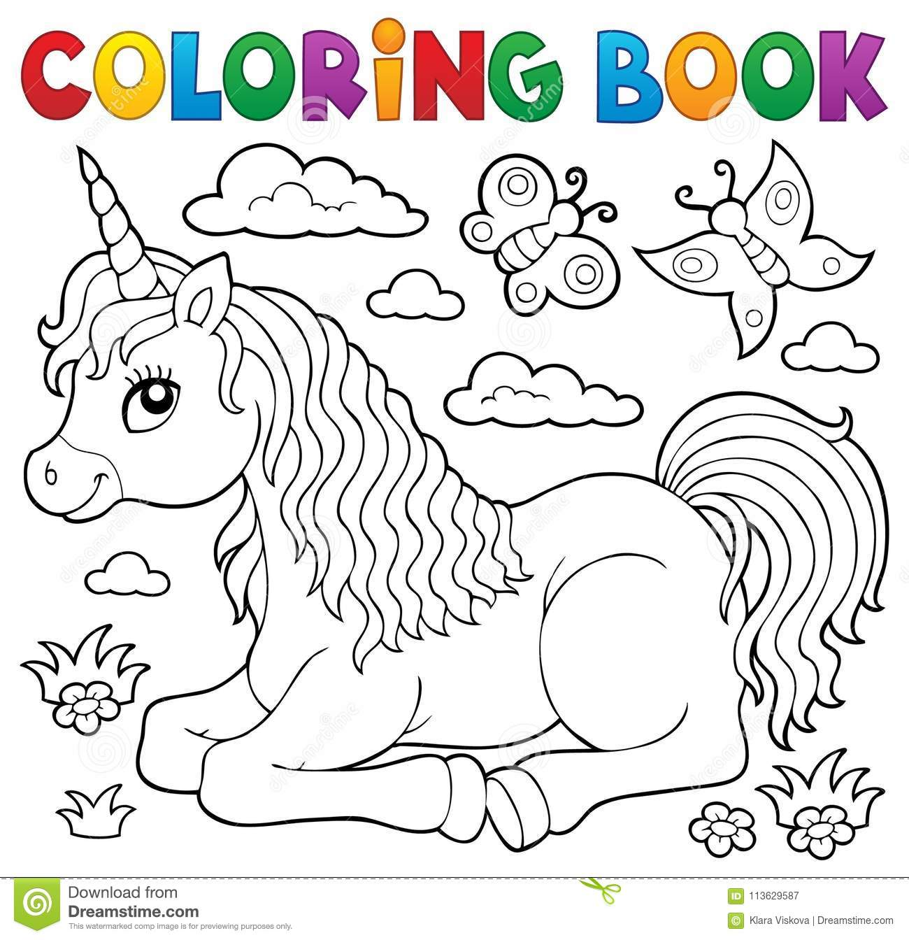 Download Coloring Book Lying Unicorn Theme 1 Stock Vector