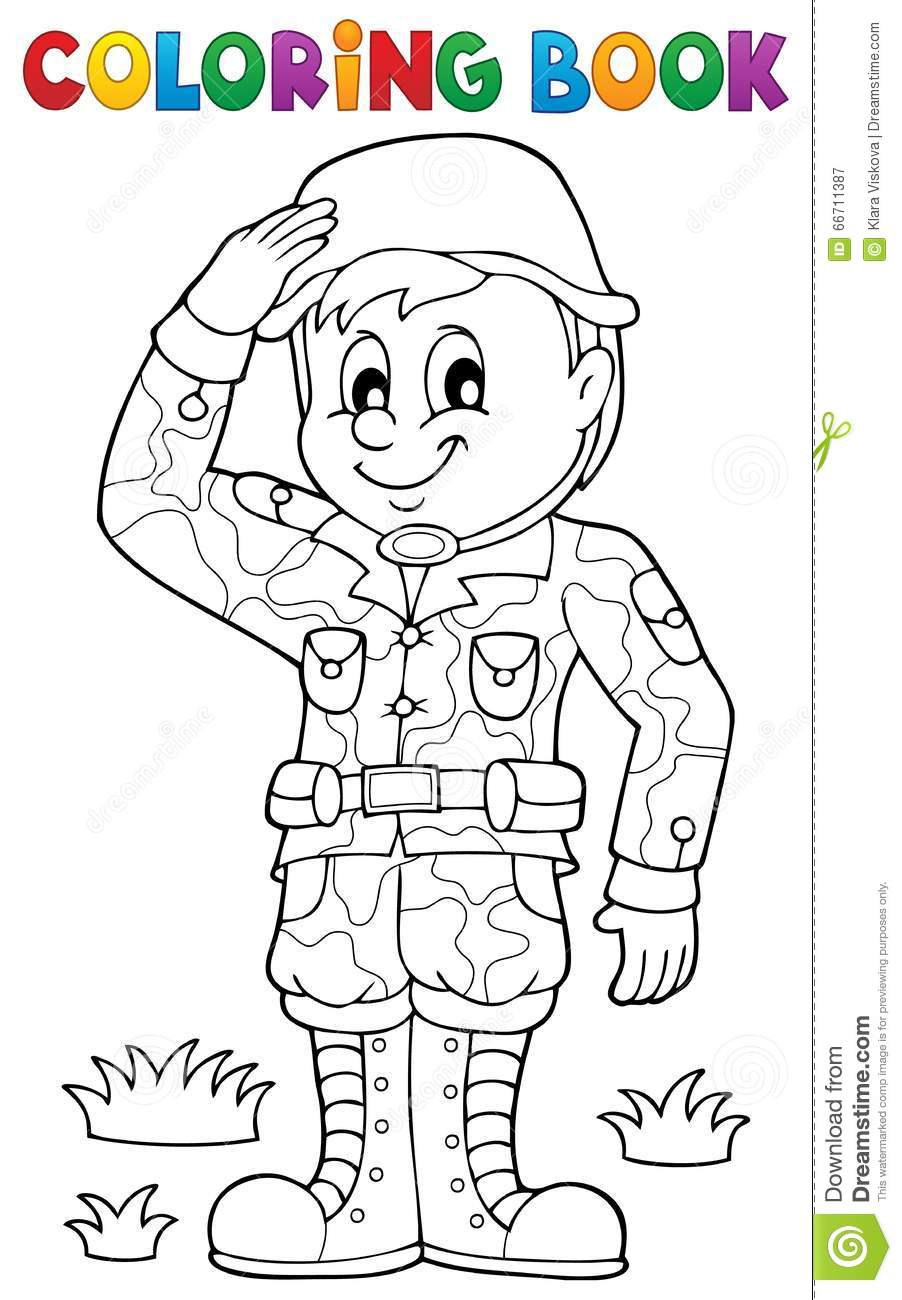 Coloring Book Male Soldier Theme 1 Stock Vector