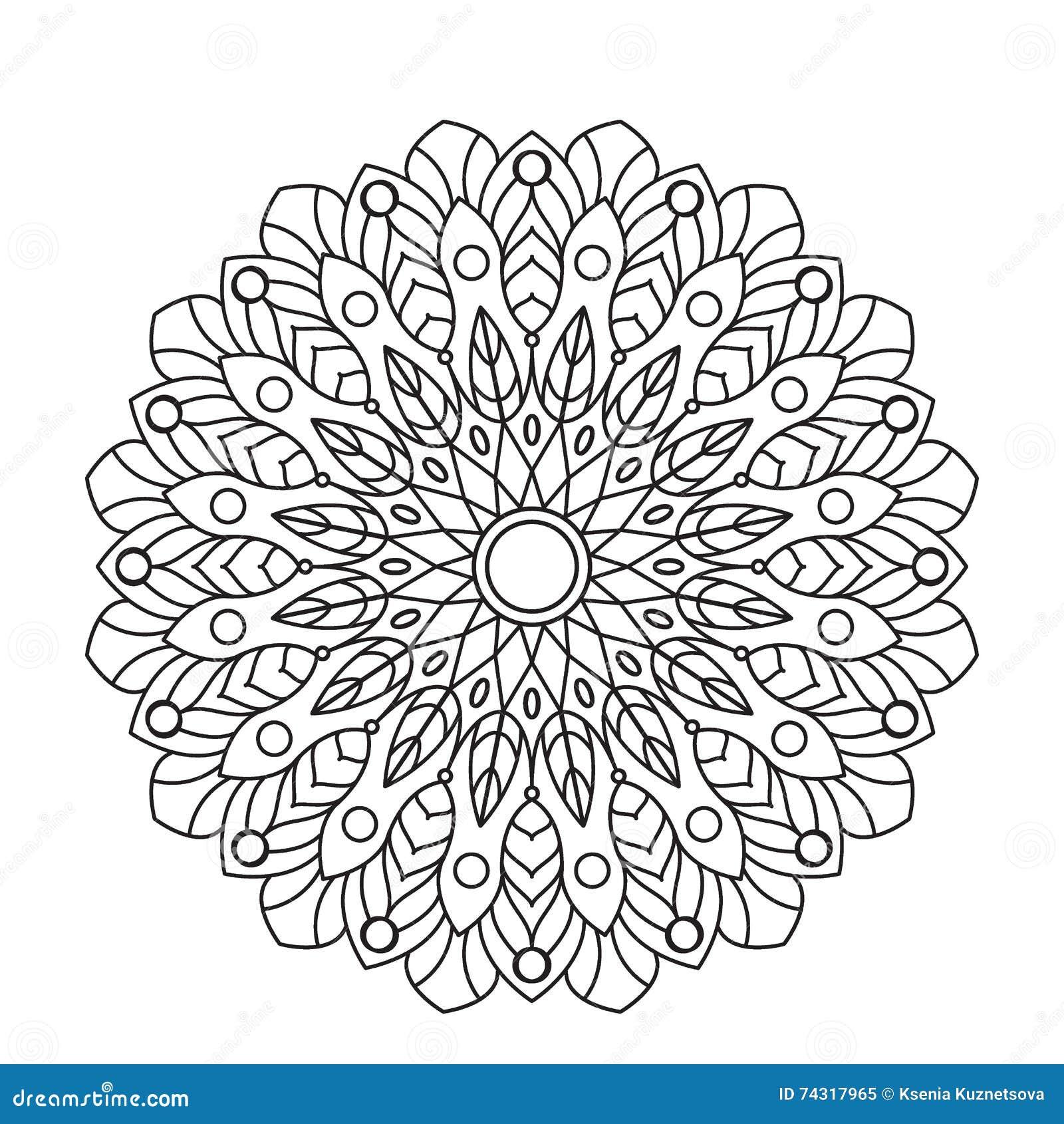 Coloring Book Mandala. Circle lace ornament, round ornamental pattern ...
