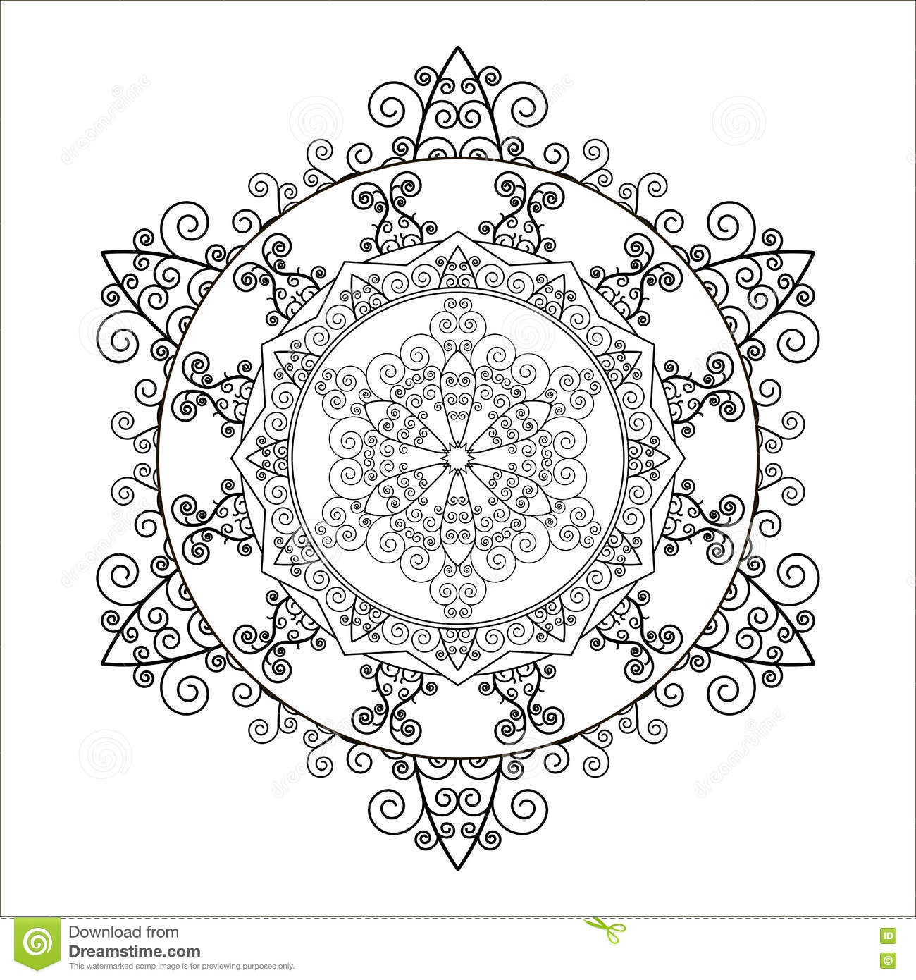 Coloring Book. Mandala In The Shape Of Snowflakes. Vector. Stock ...