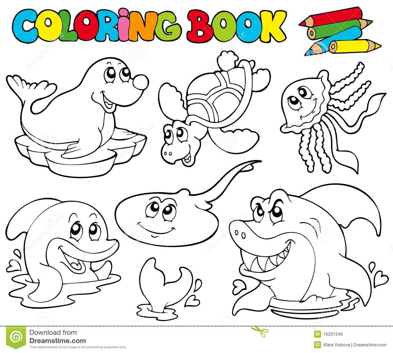 Coloring Book With Marine Animals 1 Stock Vector