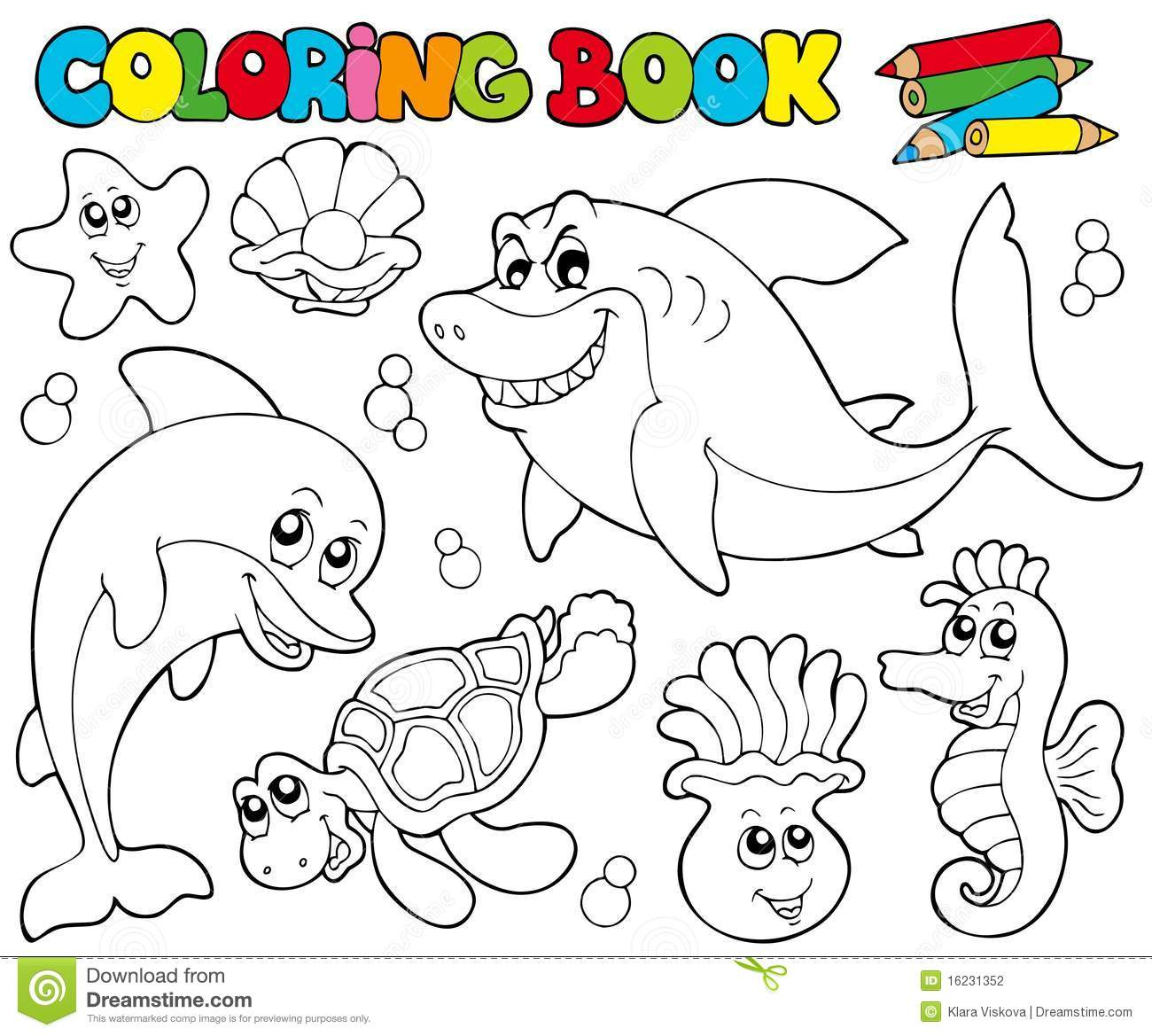 Coloring Book With Marine Animals 2 Stock Vector ...