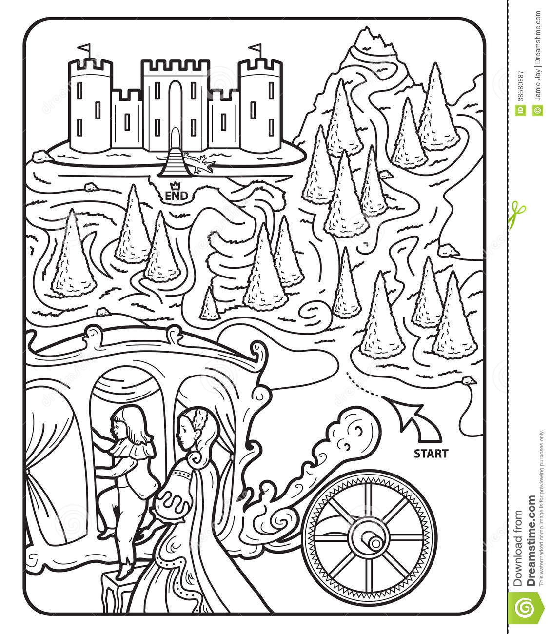 Garden Castle Mazes Colouring Pages