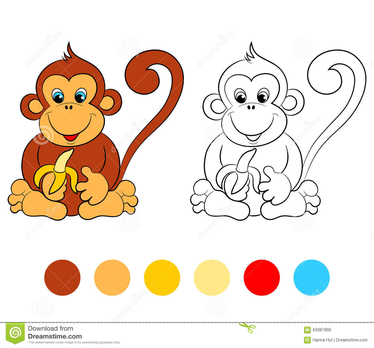 Coloring Book Monkey, Kids Layout For Game Stock Vector ...
