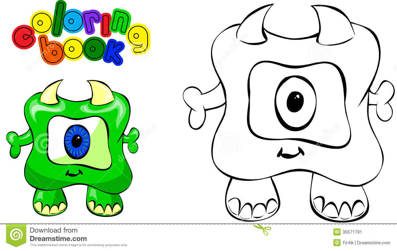 Coloring book monster stock vector. Illustration of computer - 35571791