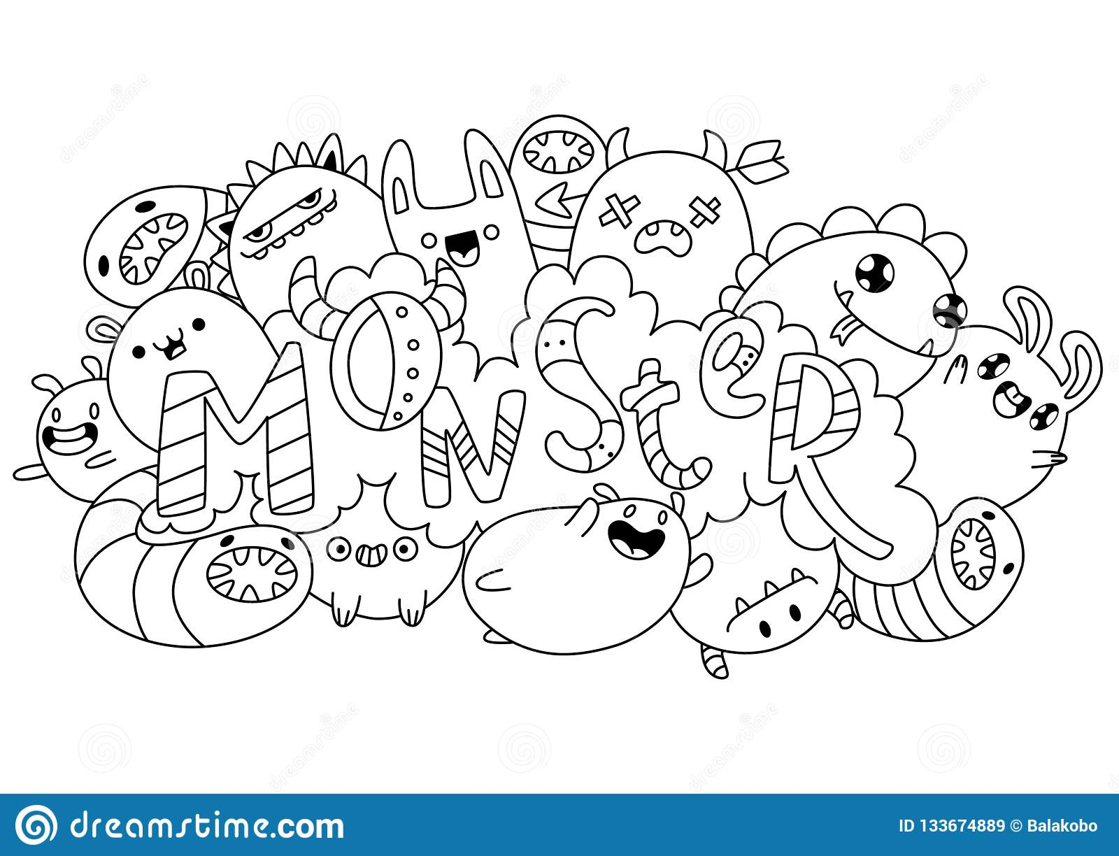 Coloring Book Monsters Kawaii Style Stock Vector Illustration