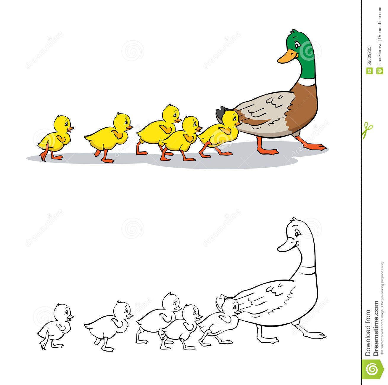 Duckling Coloring Book Royalty Free Illustration