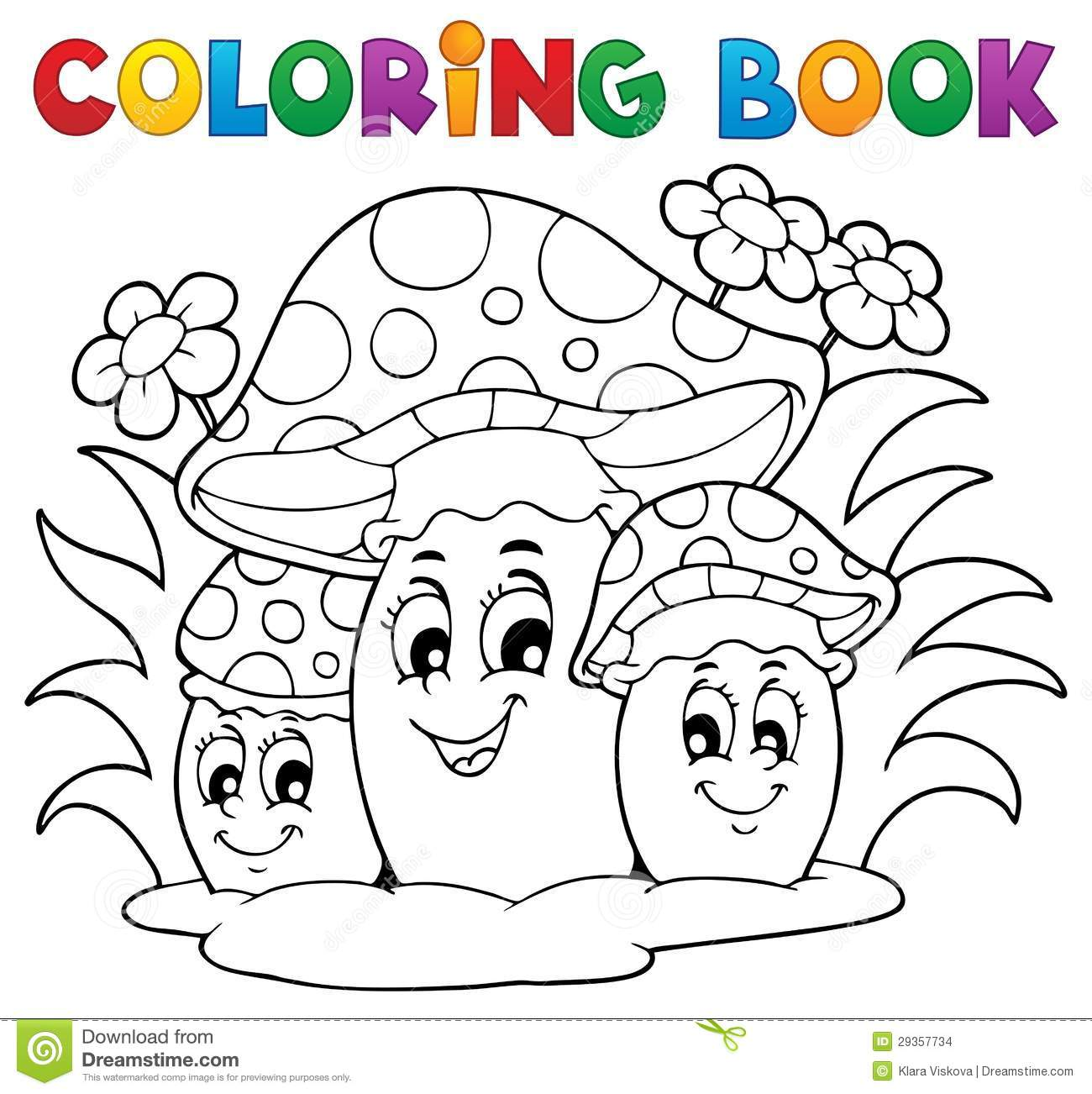 coloring book mushroom drawing looking - Coloringbook