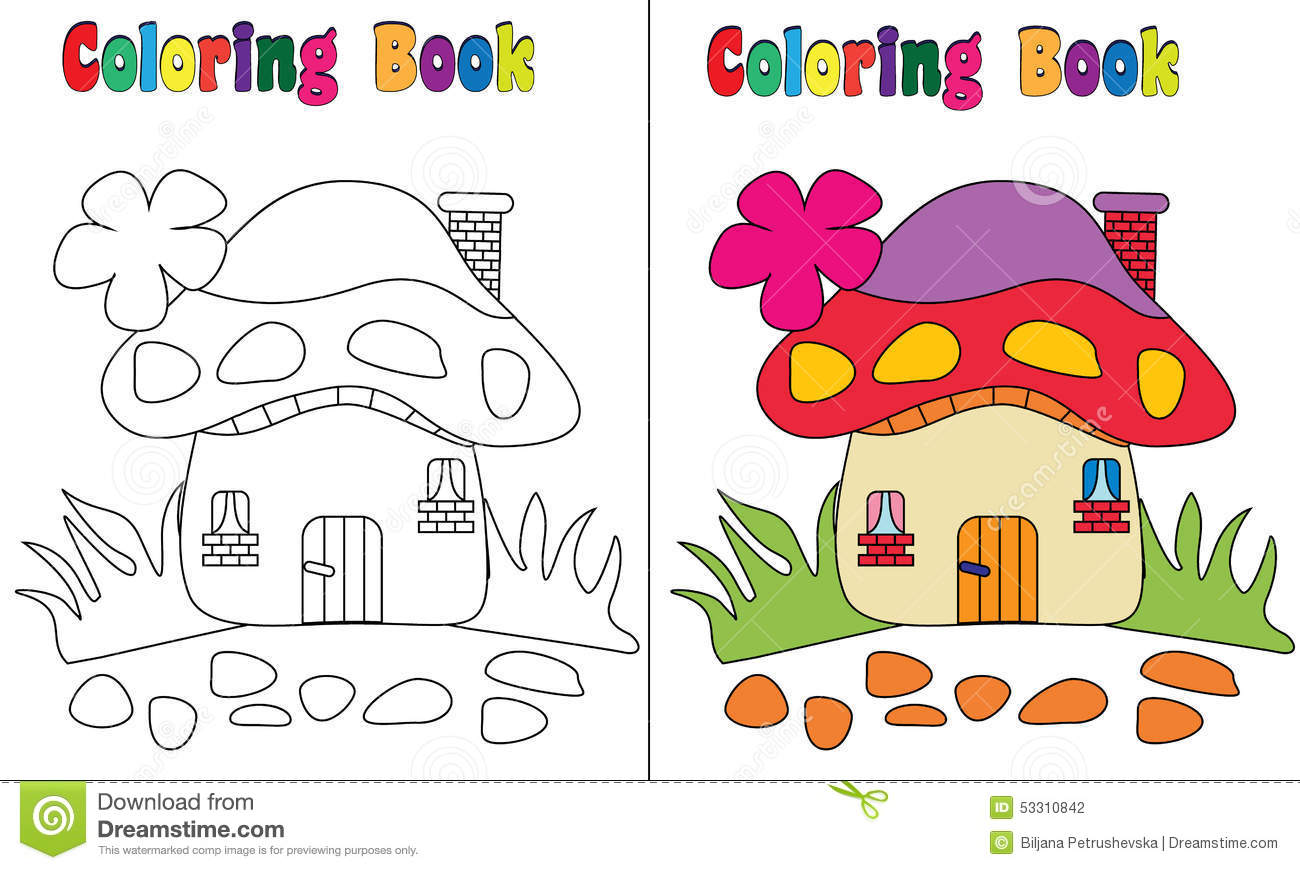 Download Coloring Book Mushroom House Stock Vector