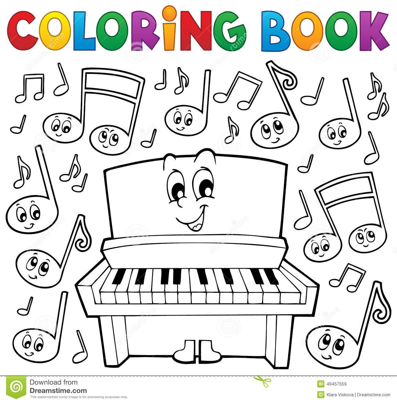 Coloring Book Music Theme Image 1 Stock Vector - Illustration of ...