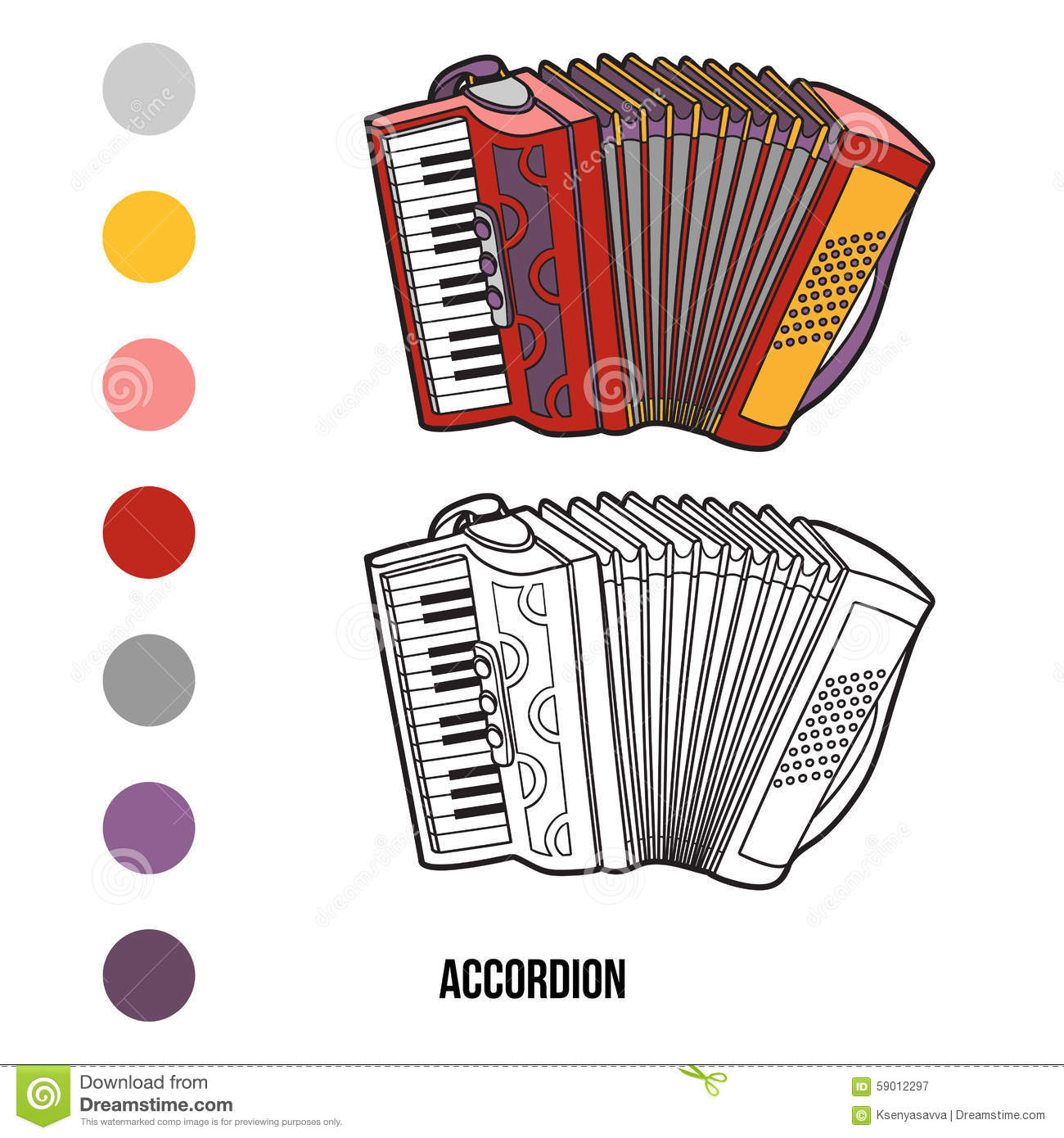 Coloring Book: Musical Instruments (accordion) Stock