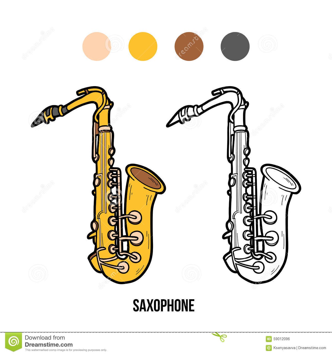 Coloring instruments - Coloring Book Musical Instruments Saxophone Royalty Free Stock Image