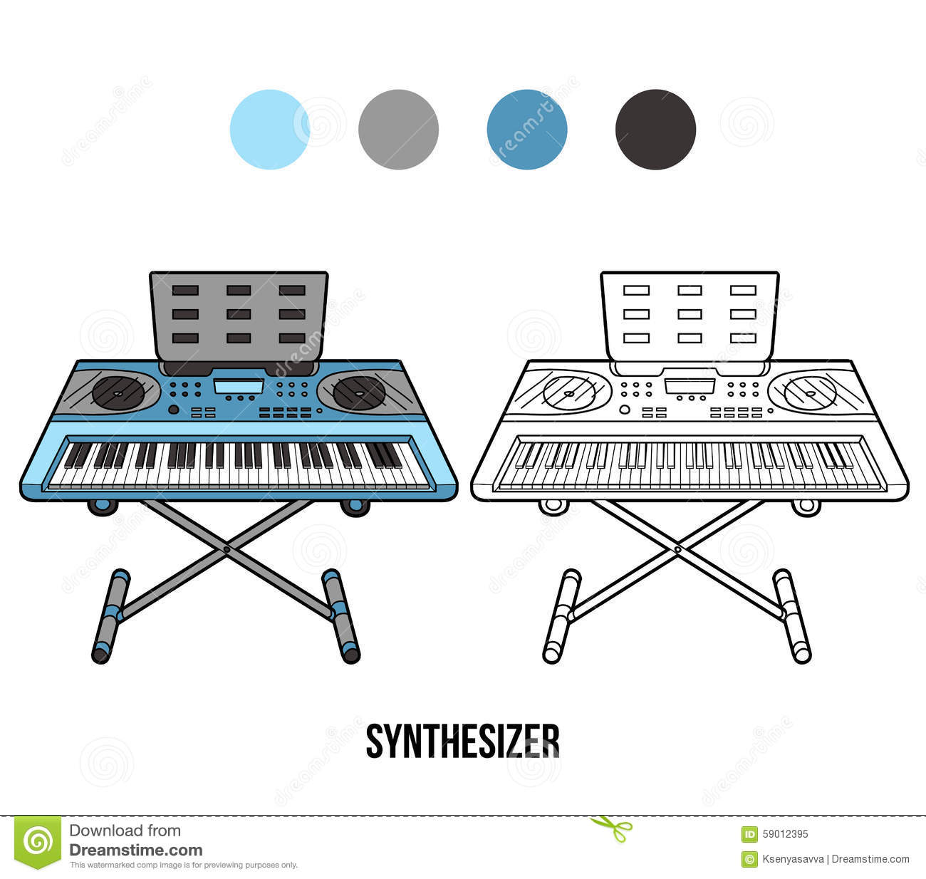 coloring book musical instruments synthesizer stock vector