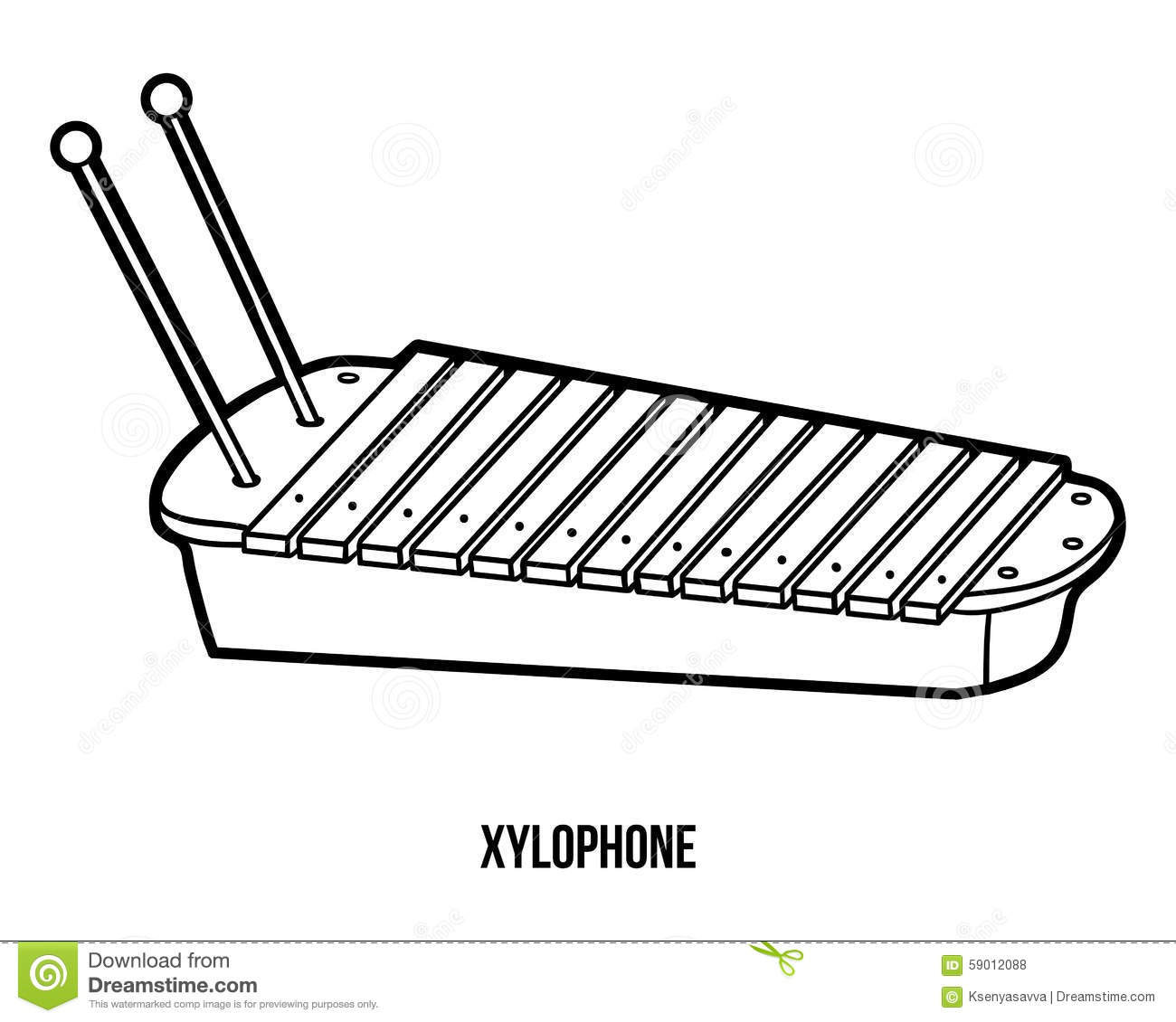 Coloring Book: Musical Instruments (xylophone) Stock ...