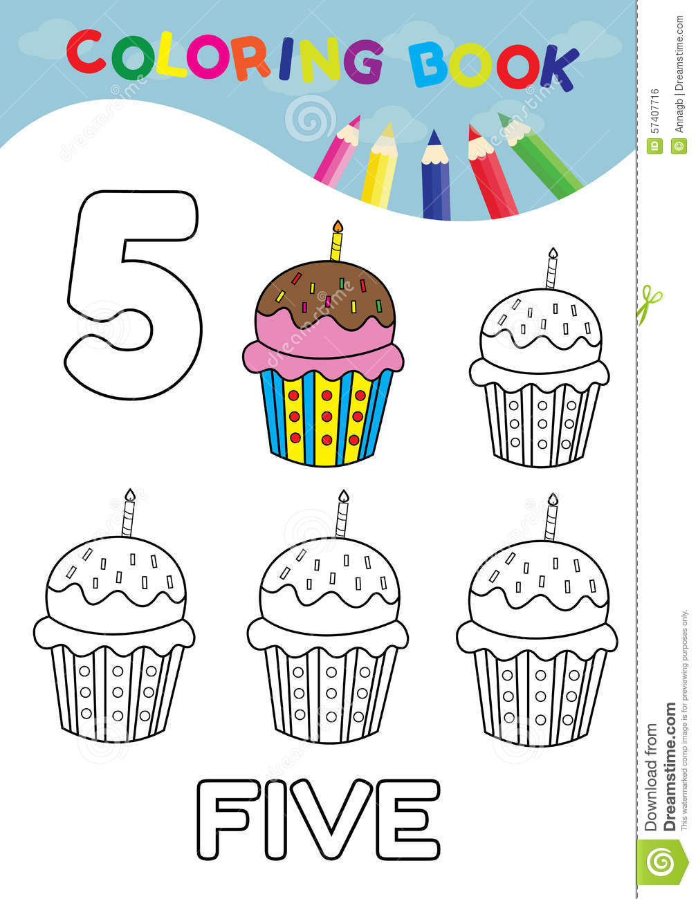 Coloring Book Number Five With 5 Cupcakes Vector For Kids And Ed