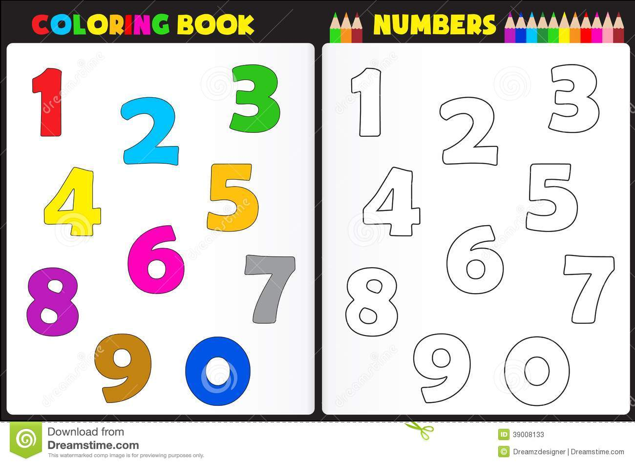 Royalty Free Stock Photo Download Coloring Book Numbers