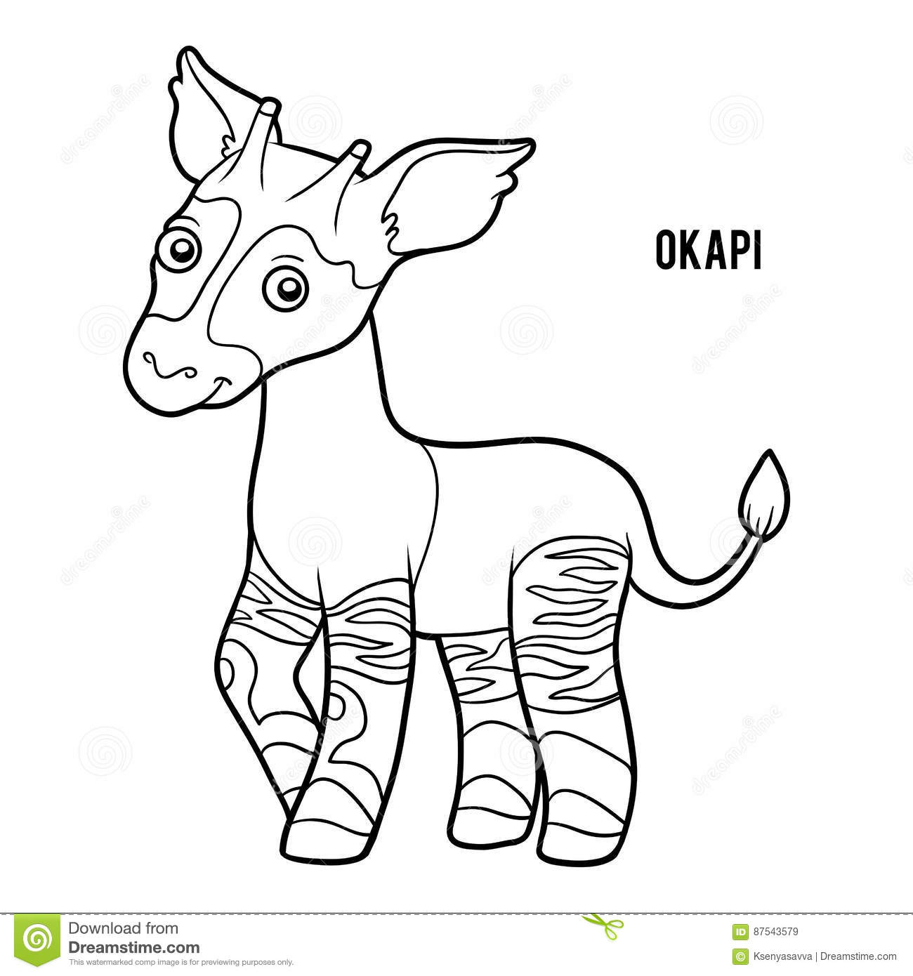 Coloring book okapi stock vector image of printable for Okapi coloring page