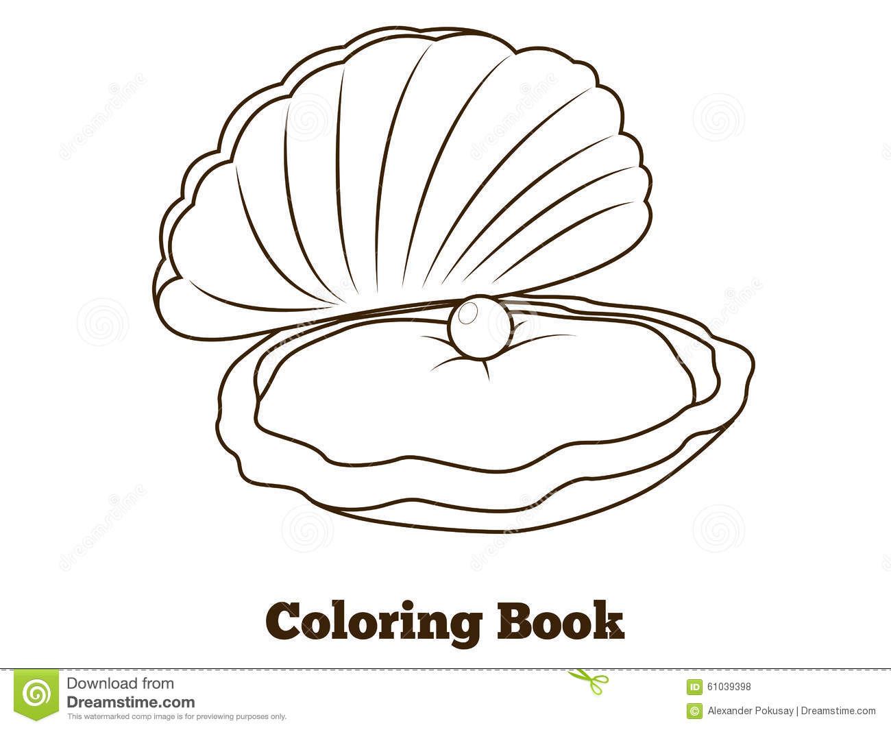 Coloring Book Oyster Fish Cartoon Illustration Stock