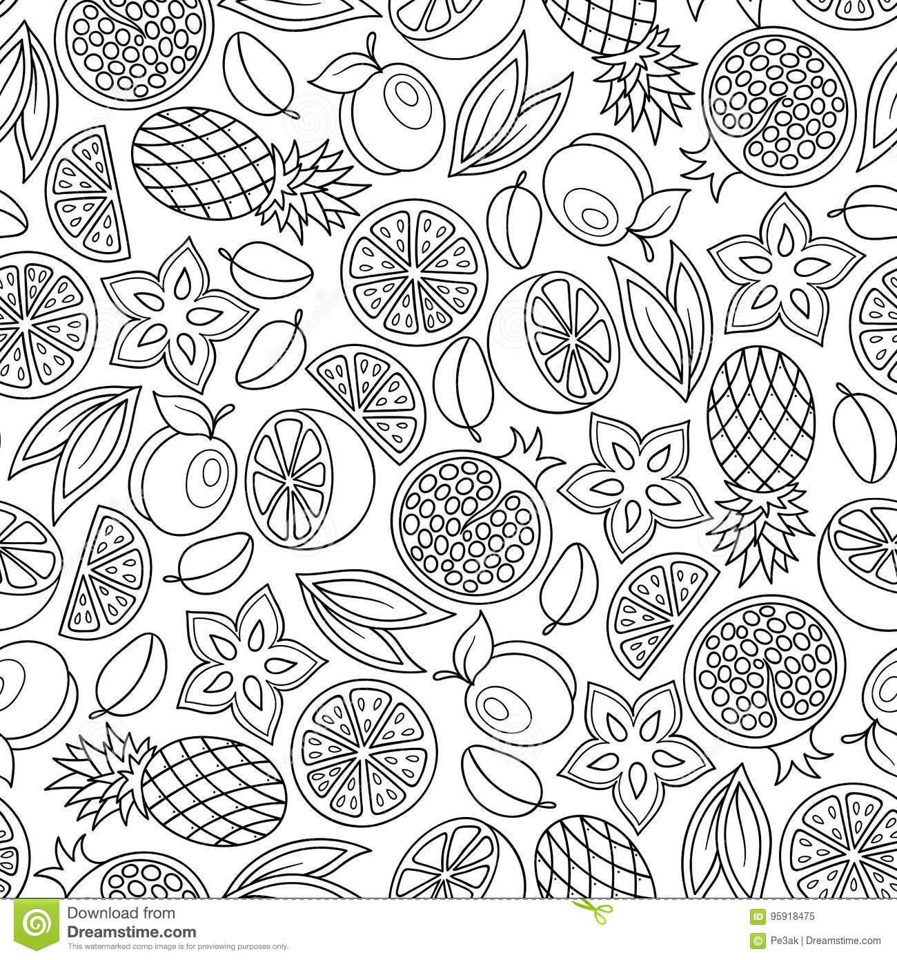 Coloring Book Page Adult Antistress Therapy Stock Vector