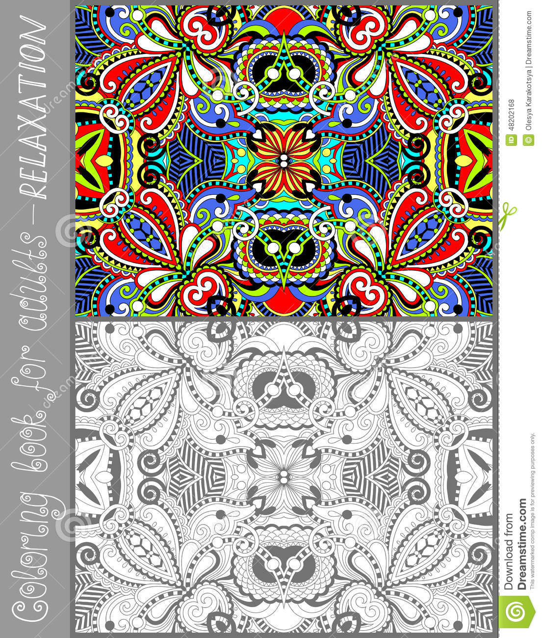 Flower designs coloring book - Coloring Book Page For Adults Flower Paisley Stock Vector
