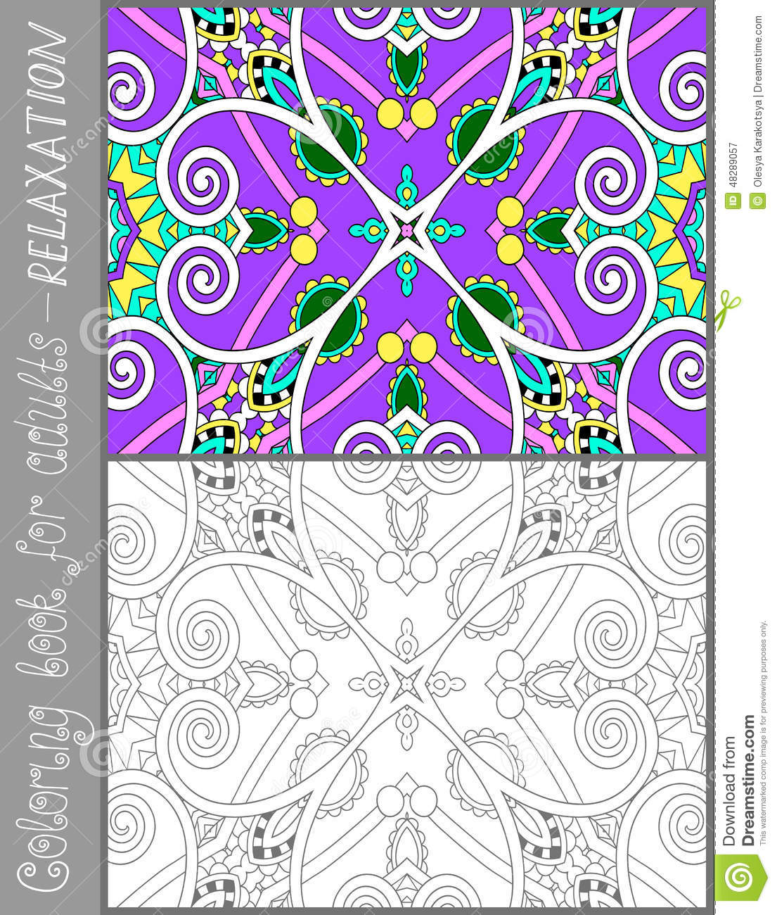 Line Art Joy : Coloring book page for adults flower paisley stock