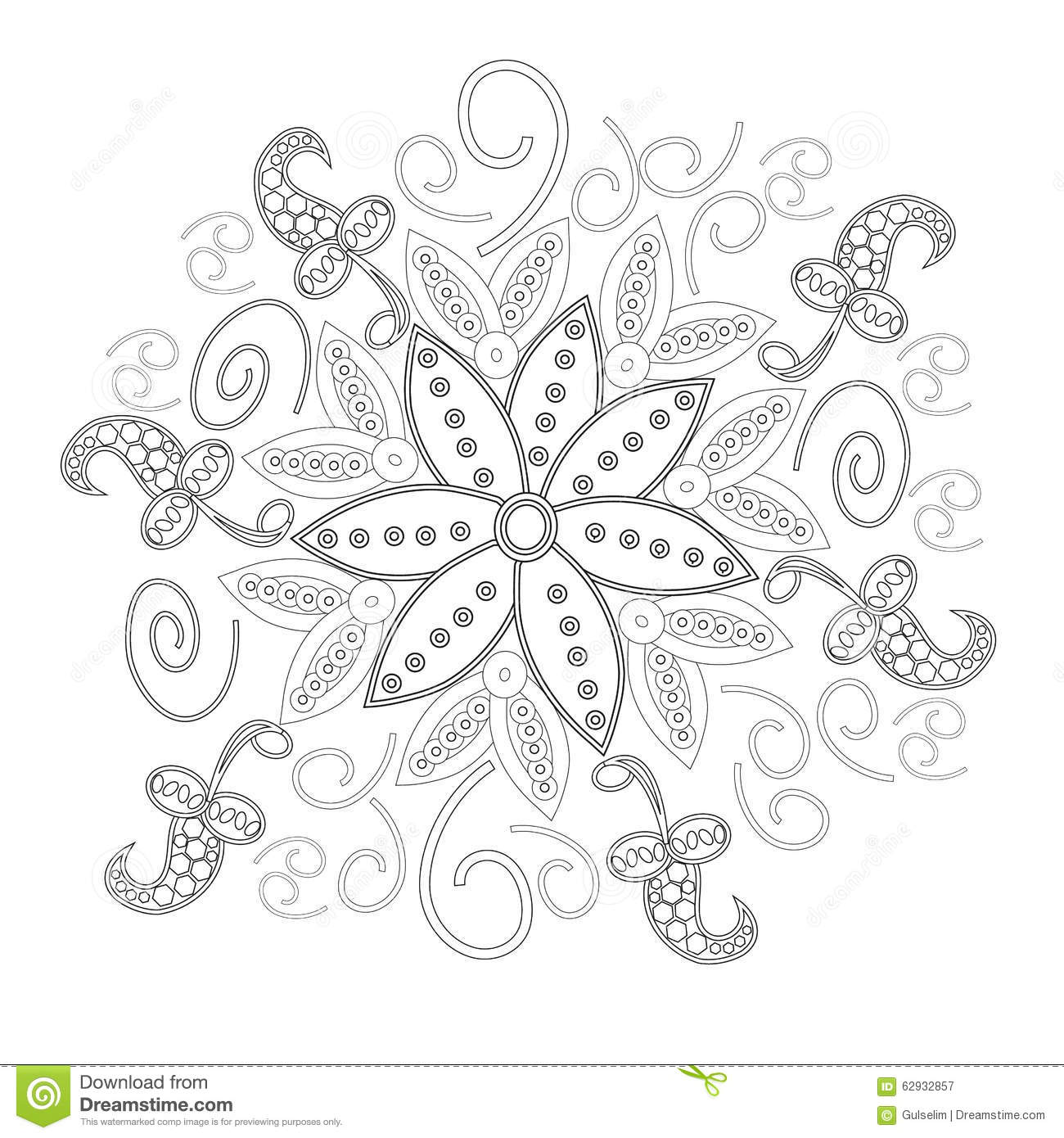 Coloring Book Page For Adults Line Art Creation, Heart And Flowers ...