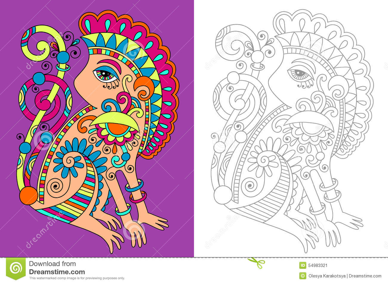 coloring book page for adults with unusual