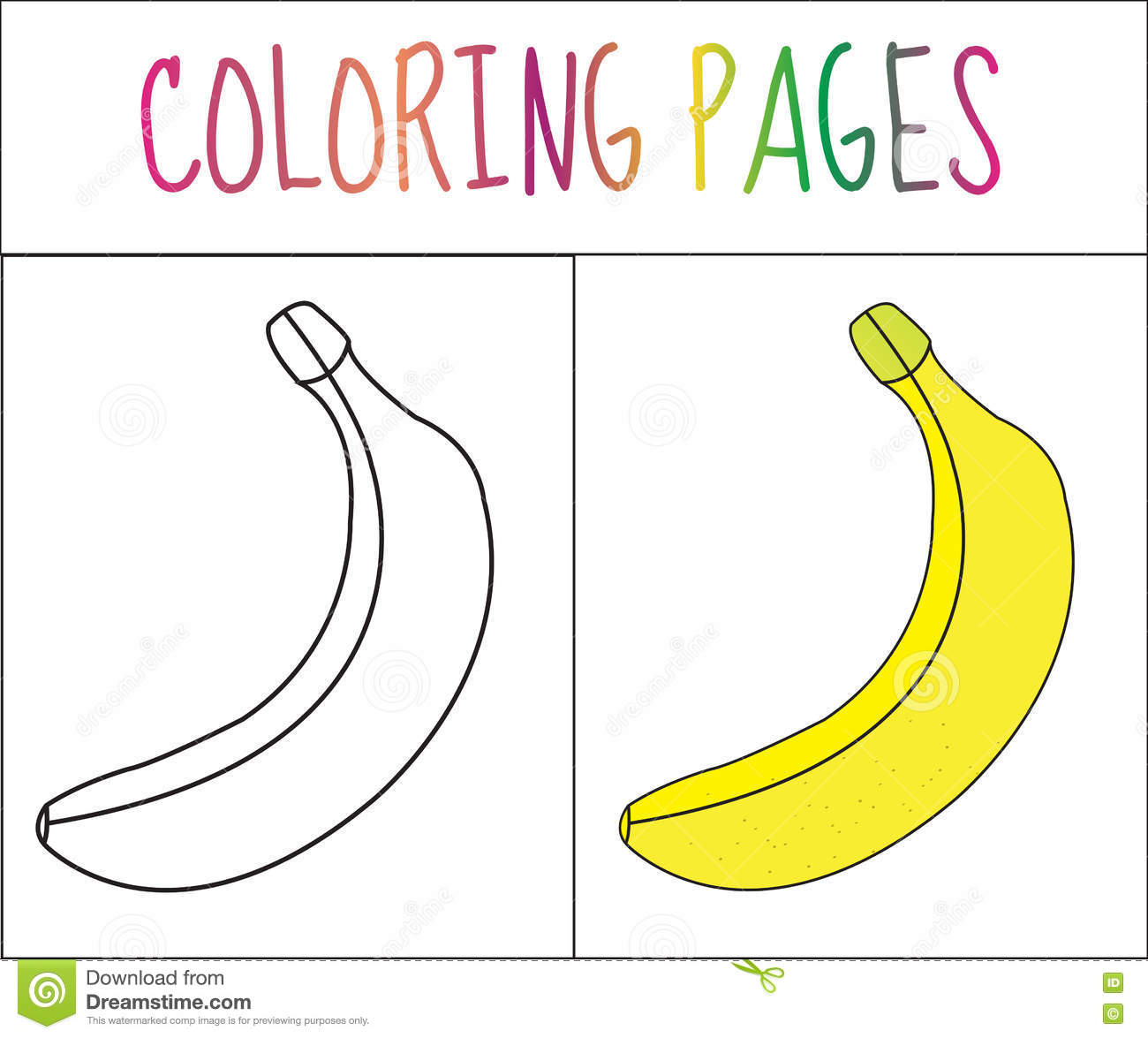 coloring book page banana sketch and color version coloring for