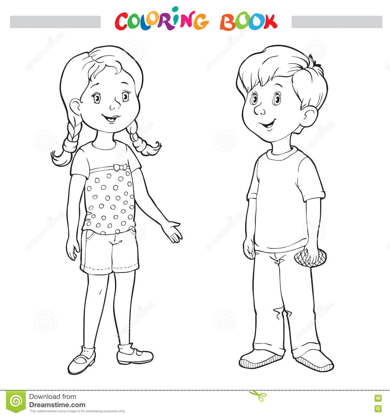 Coloring Book Or Page. Boy And Girl Stock Vector - Illustration of ...