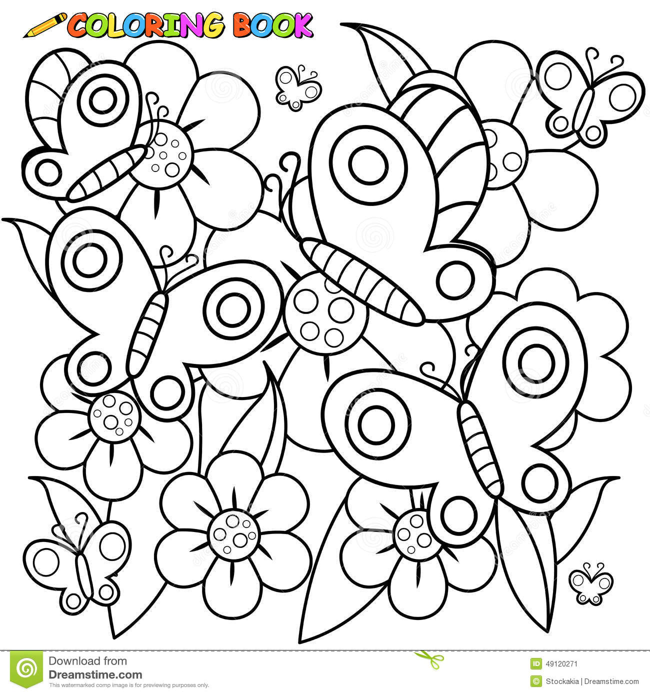 Coloring Book Page Butterflies And Flowers Stock Vector