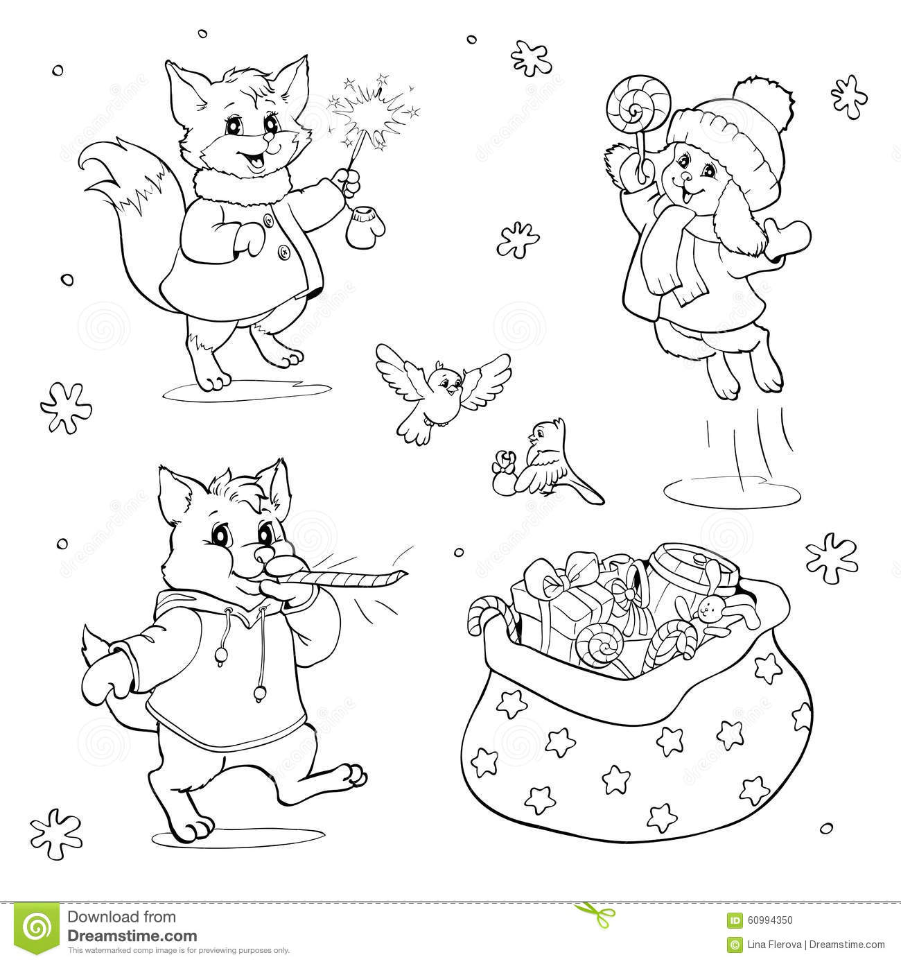 christmas wolf coloring pages | Coloring Book Or Page. Cartoon Animals With Christmas ...