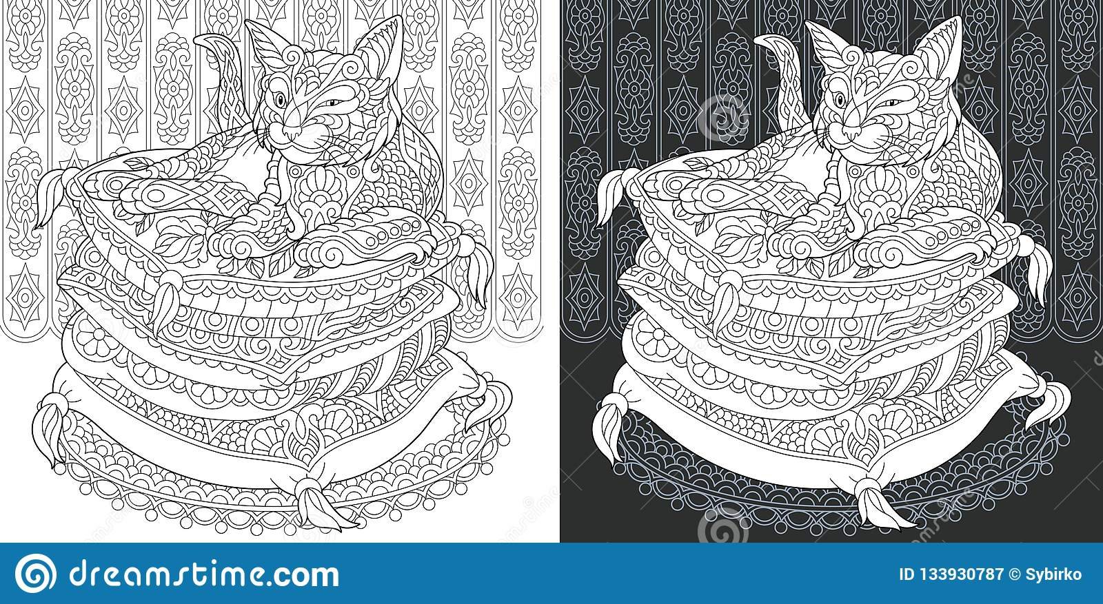 Coloring book page with cat