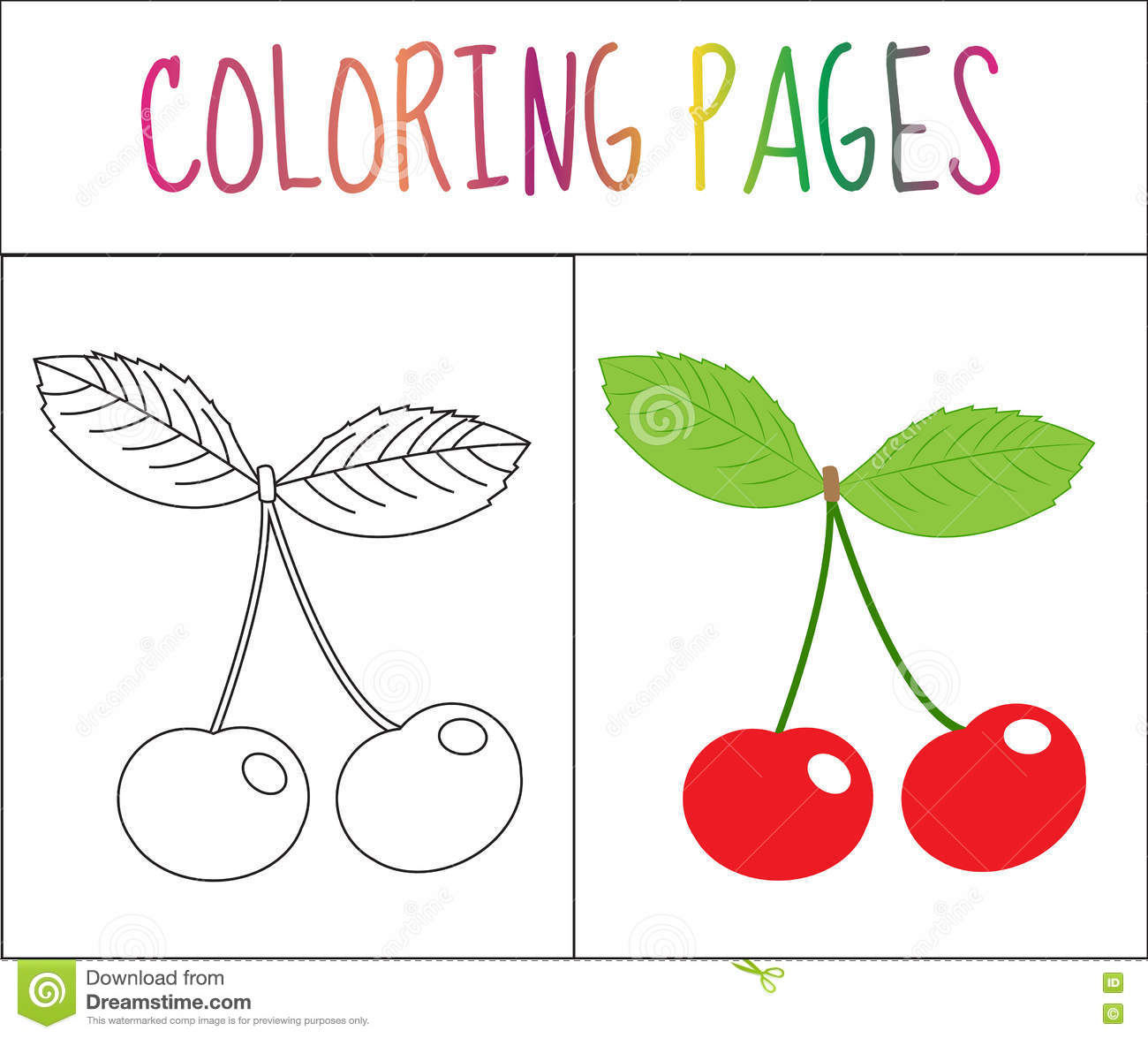 Coloring Book Page Cherry Sketch And Color Version Coloring For