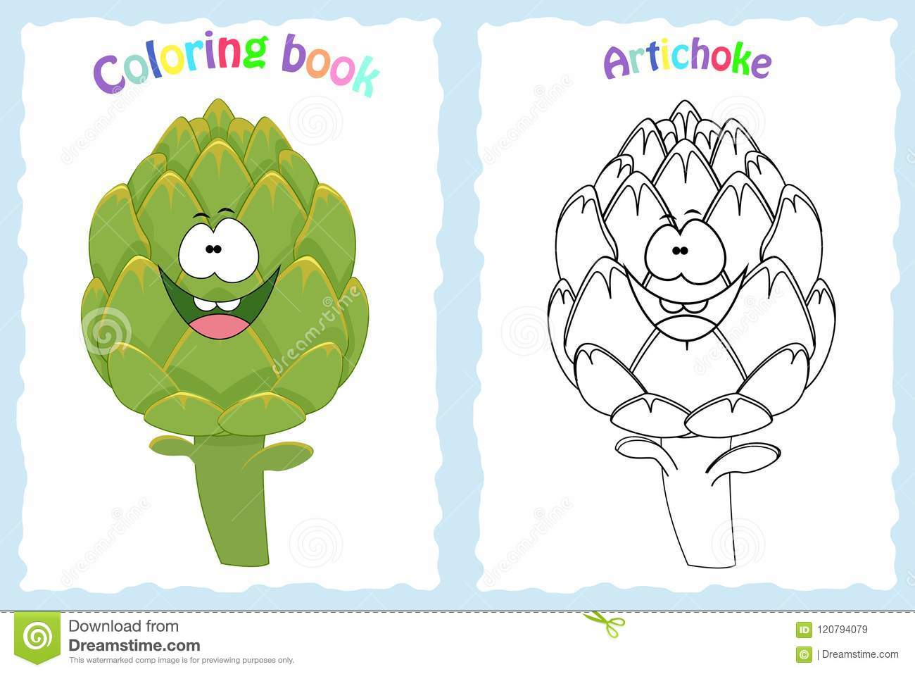 Coloring Book Page For Children With Colorful Artichoke And Sk Stock ...