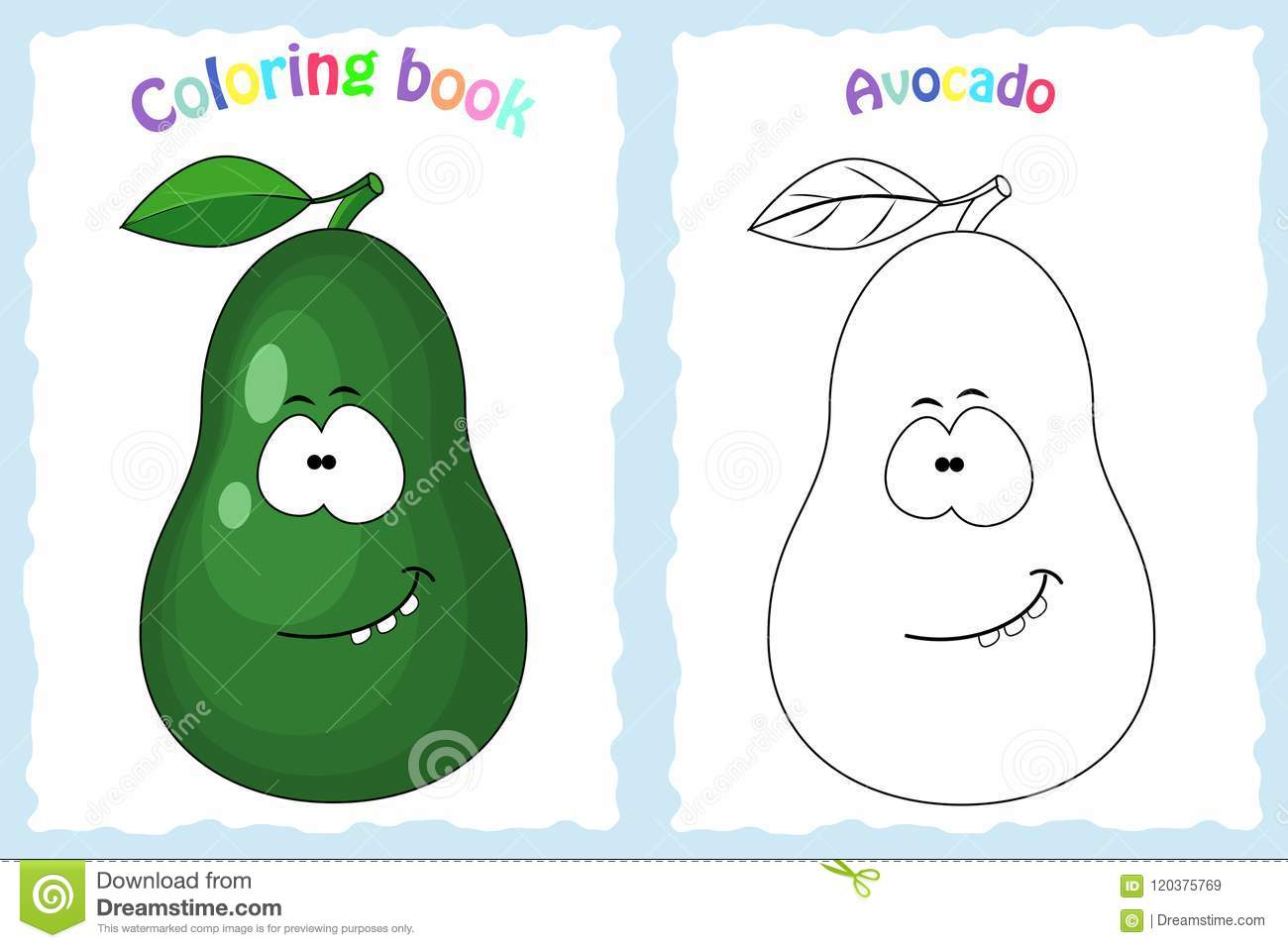 Coloring Book Page For Children With Colorful Avocado And Sketc ...