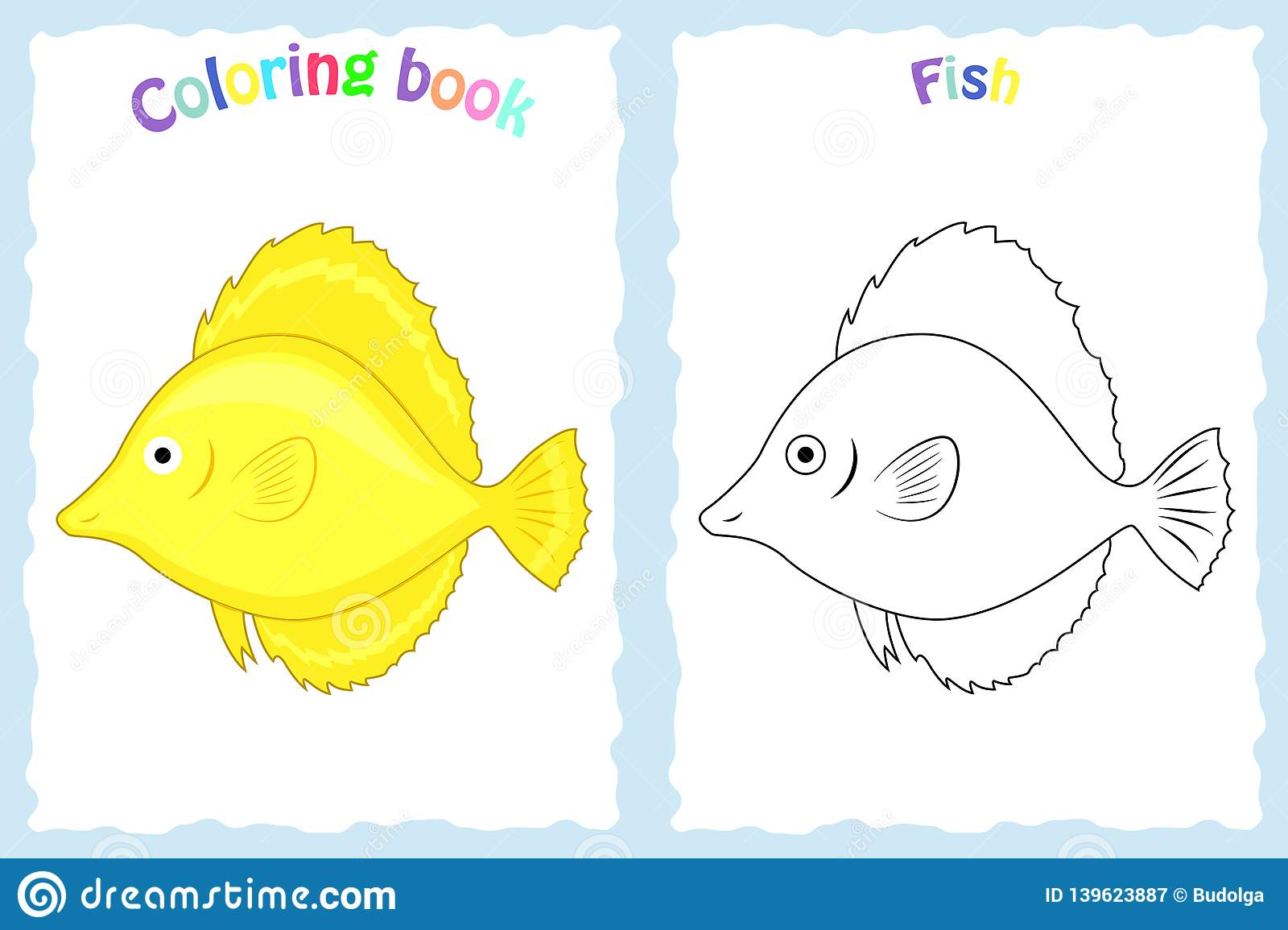 coloring book page for children with colorful yellow fish and sketch to color preschool education stock vector illustration of kindergarten graphic 139623887 https www dreamstime com coloring book page children colorful yellow fish sketch to color preschool education coloring book page children image139623887