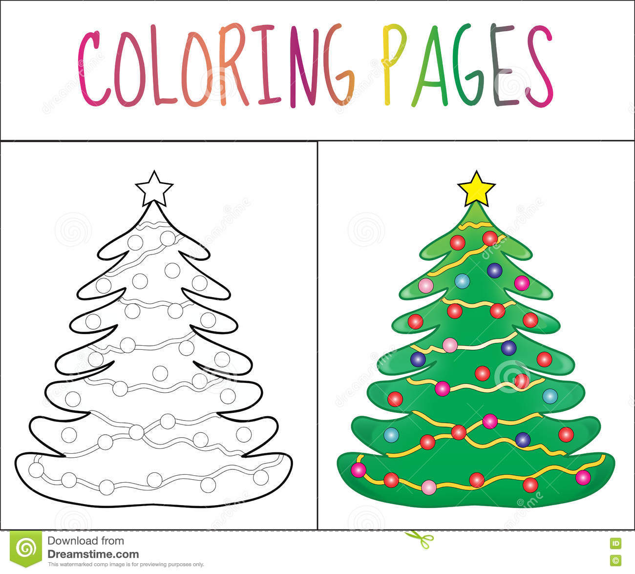 Coloring Book Page, Christmas Tree New Year, Christmas. Sketch And ...