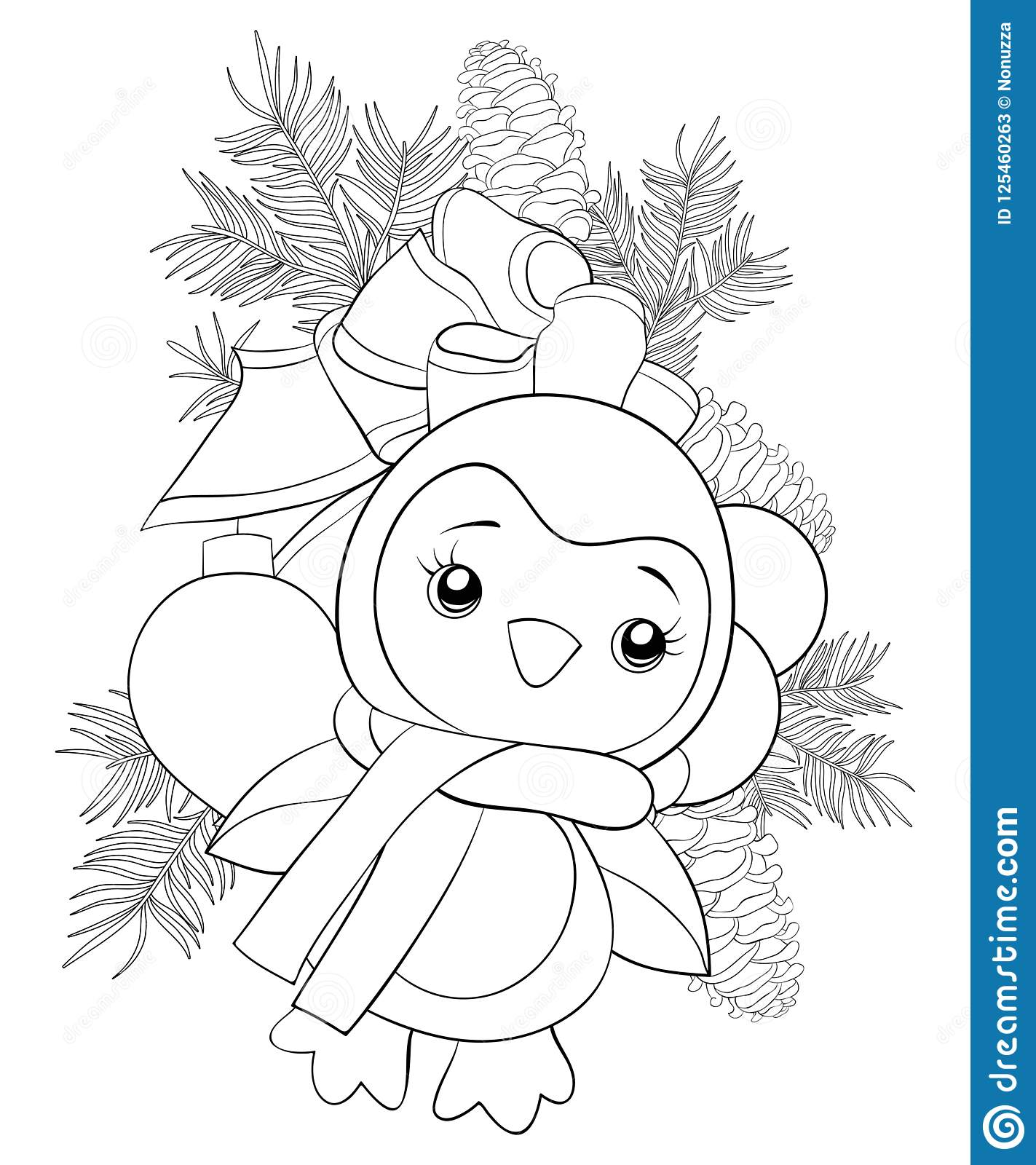 A Coloring Book,page A Cute Penguin On The Fir Tree Brunch ...