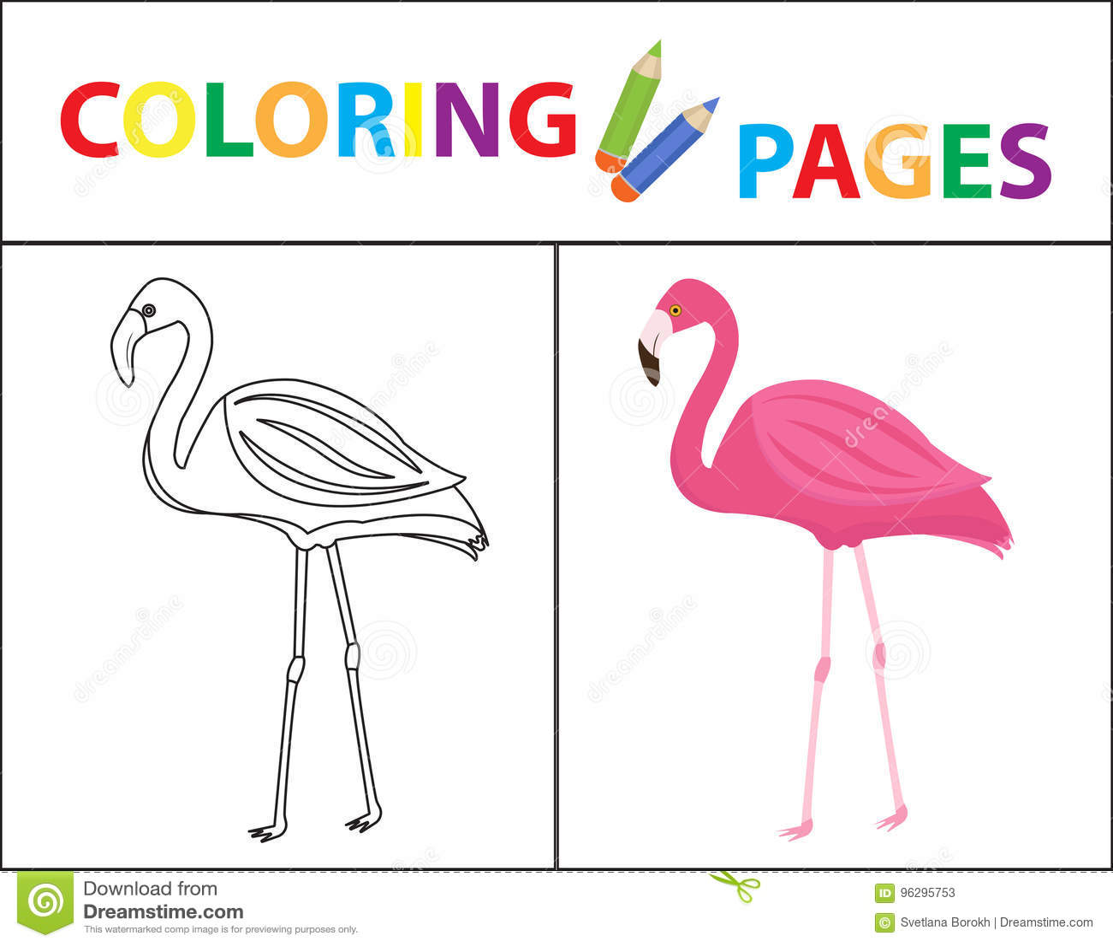 coloring book page flamingo sketch outline color version coloring kids childrens education vector illustration