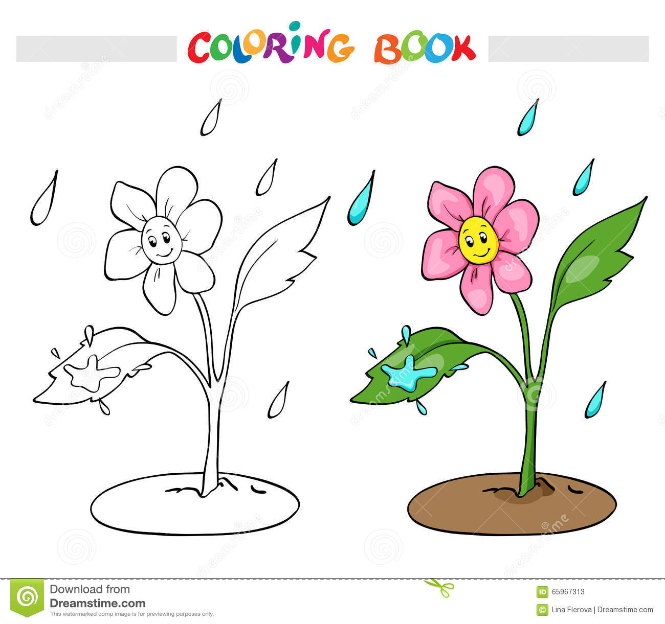 Spring rain coloring pages - Coloring Book Or Page Flower Daisy Rejoices Rain Stock Photos