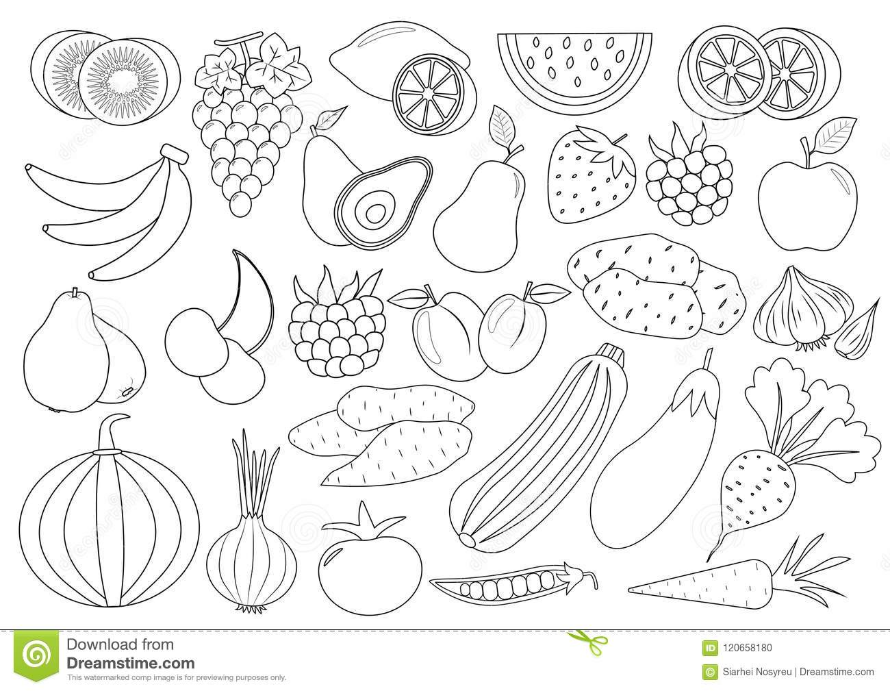 Coloring Book Page Fruits Berries And Vegetables Cartoon Stock