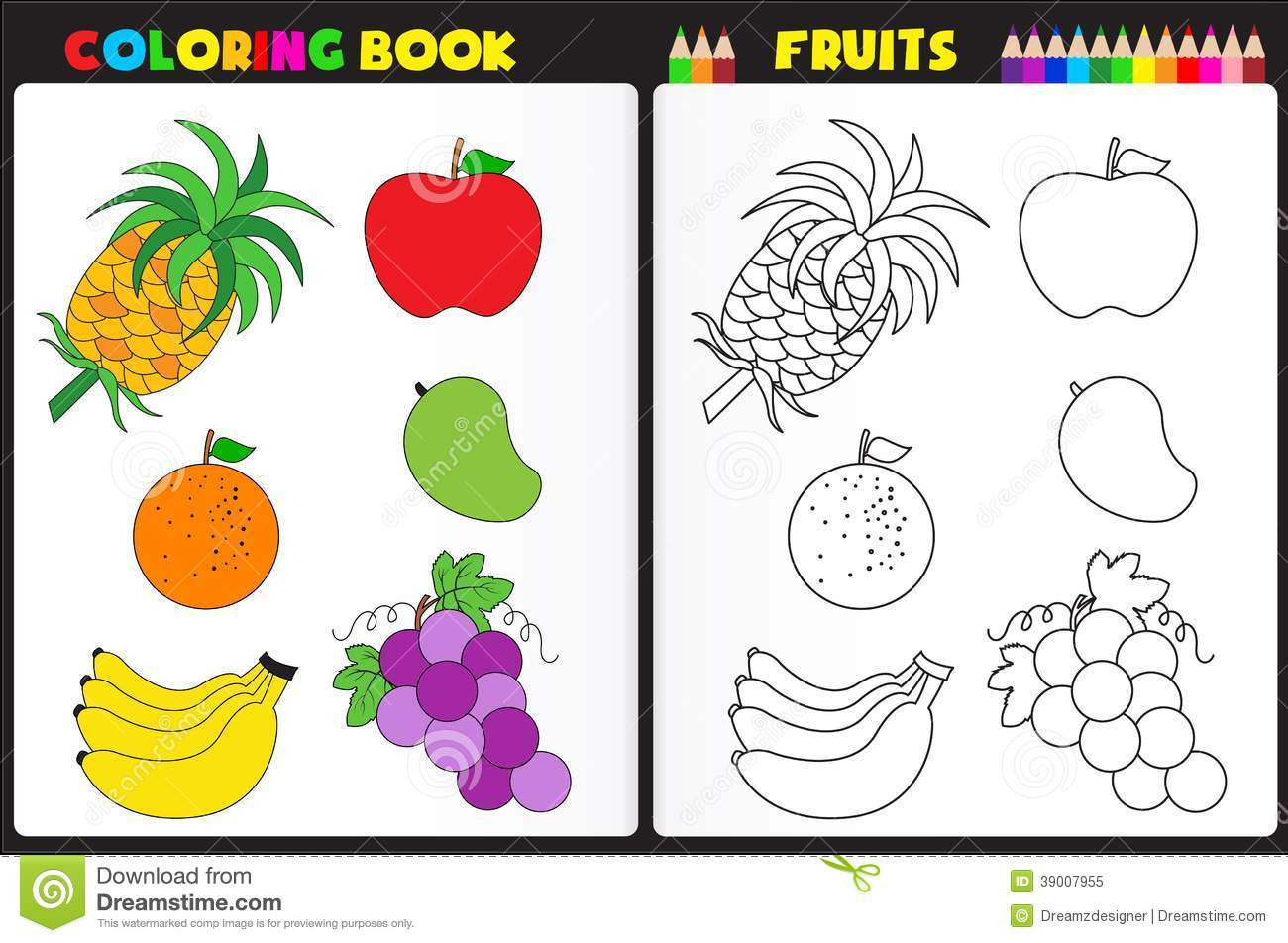 Nature coloring book page for kids with colorful fruits and sketches to color